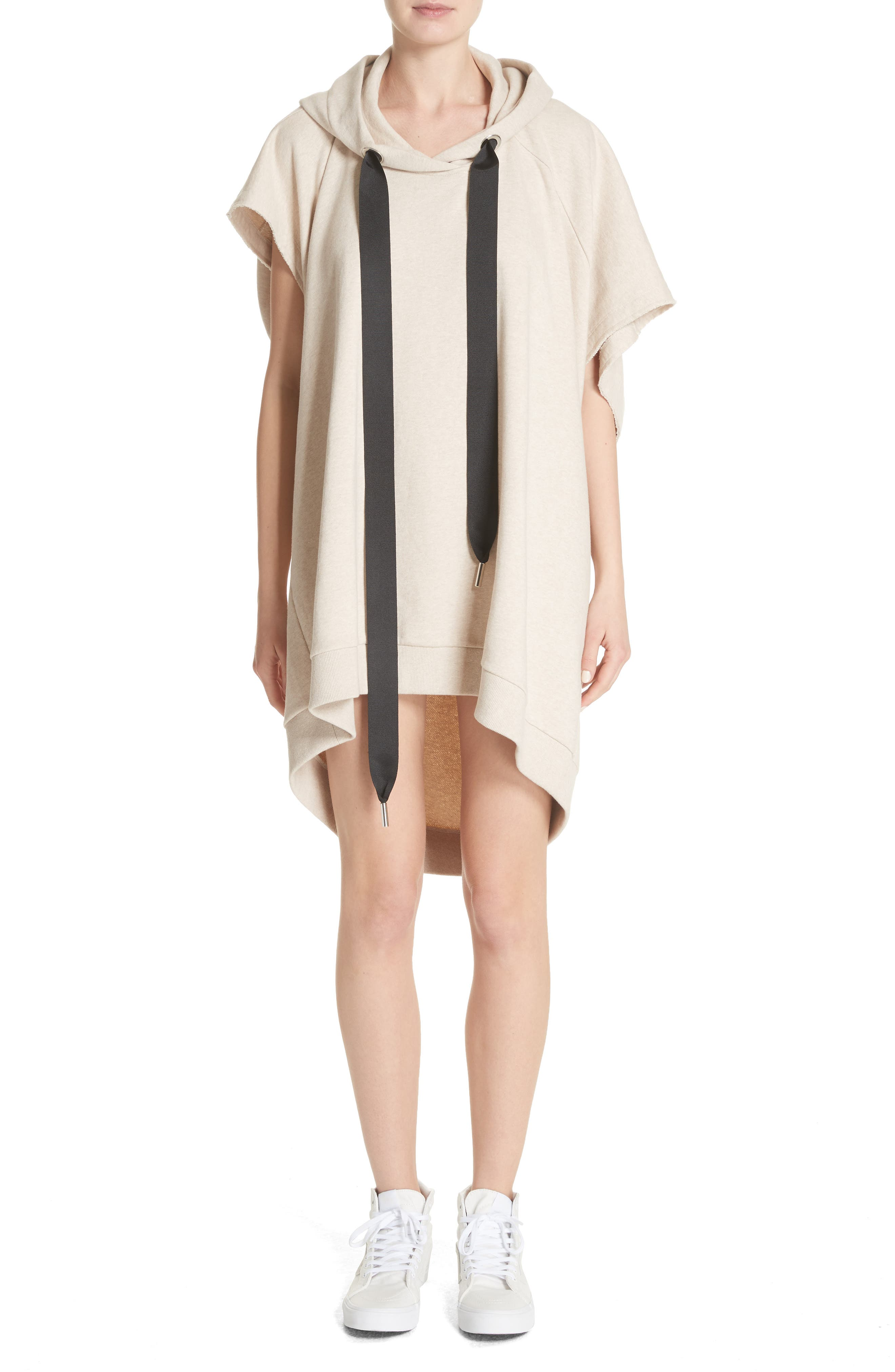 Marques'Almeida Asymmetrical Cap Sleeve Hoodie,                         Main,                         color, Beige Melange