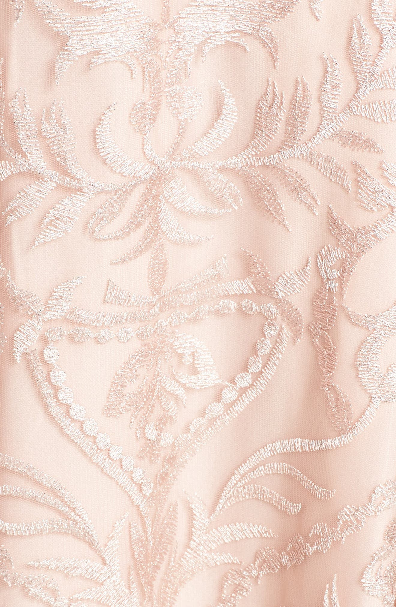 Keyhole Neck Embroidered Ballgown,                             Alternate thumbnail 5, color,                             Blush / Nude
