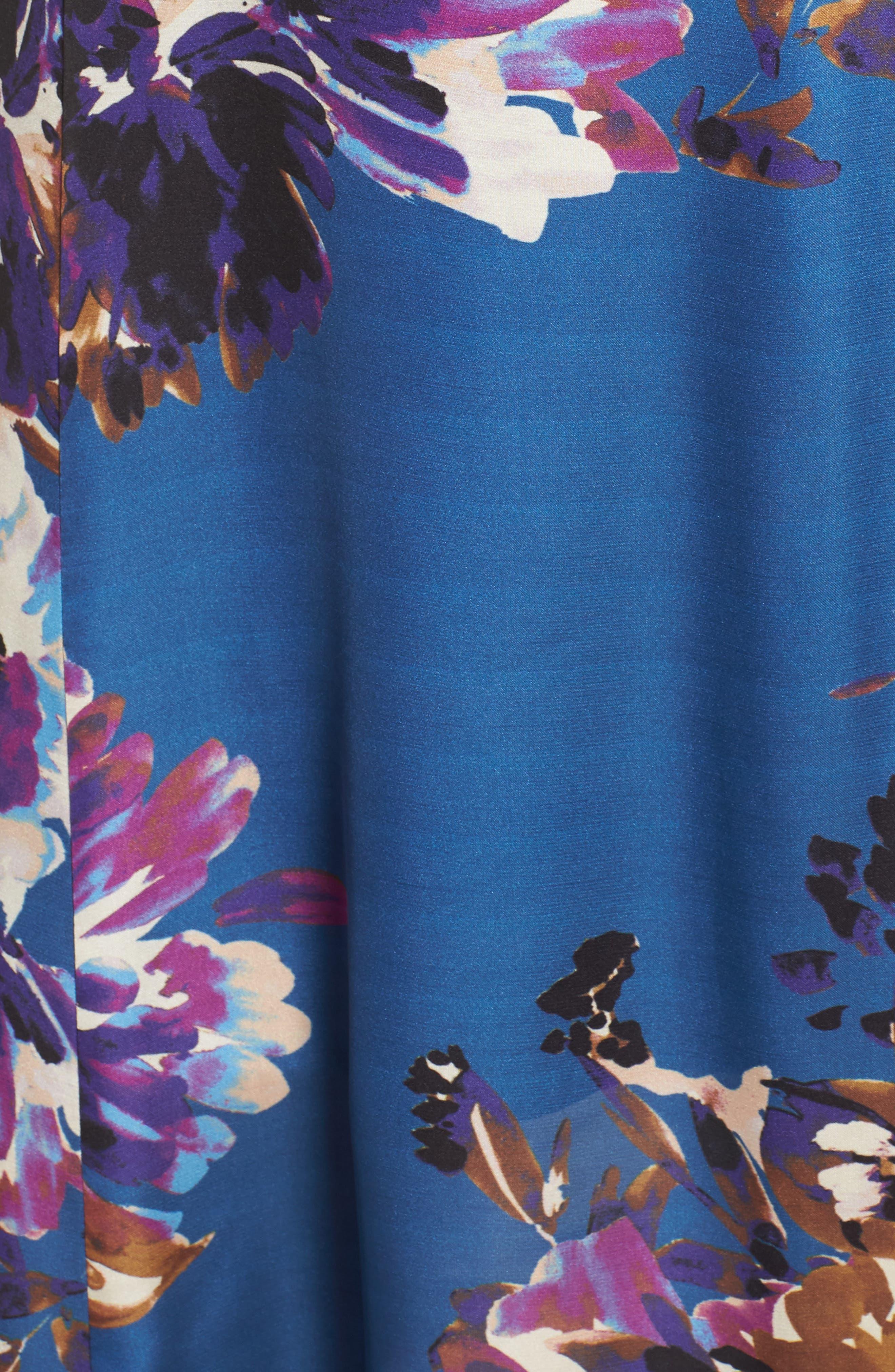 Floral Maxi Dress,                             Alternate thumbnail 7, color,                             French Blue Floral Satin