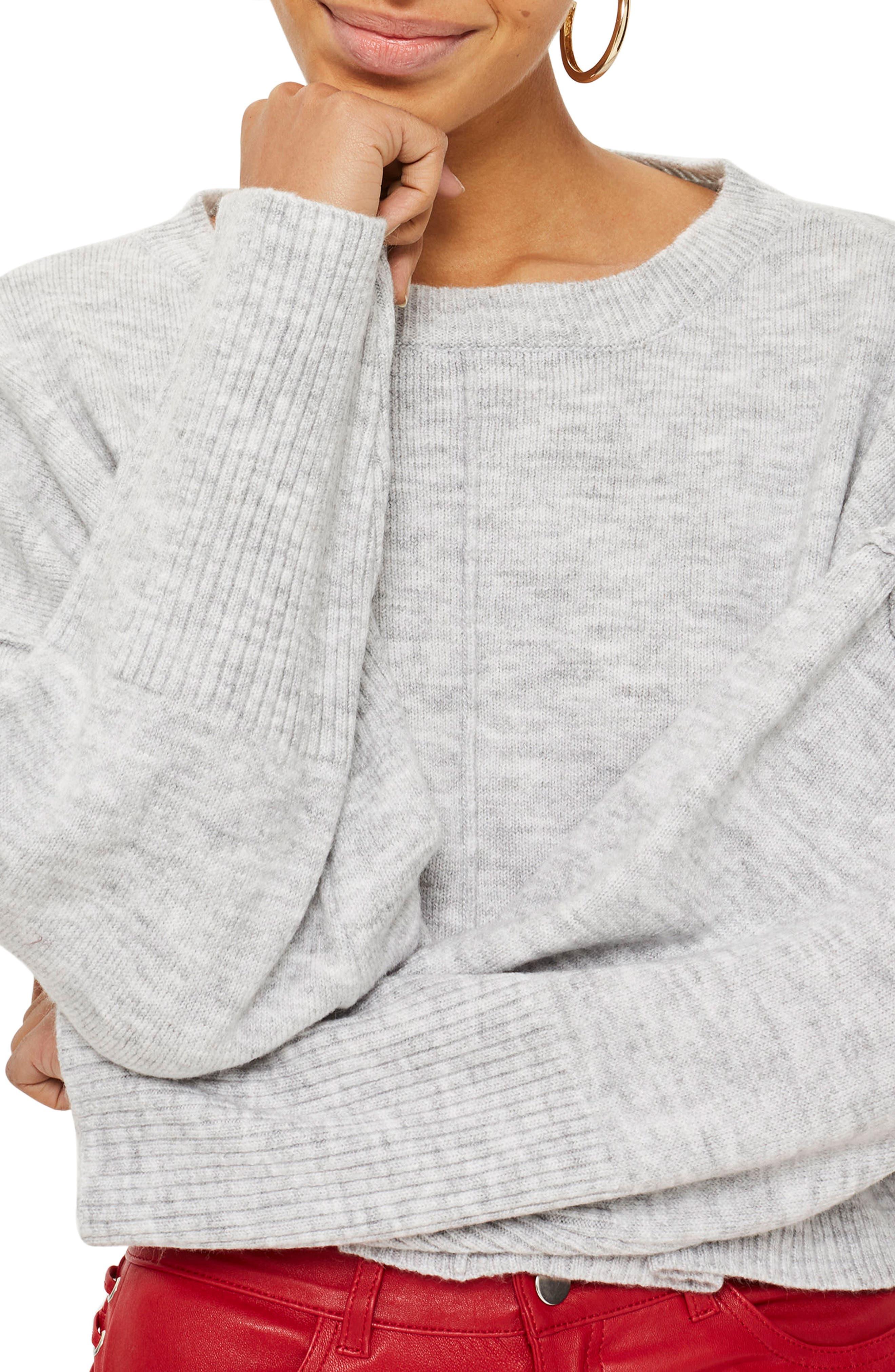 Alternate Image 1 Selected - Topshop Wide Sleeve Crop Sweater