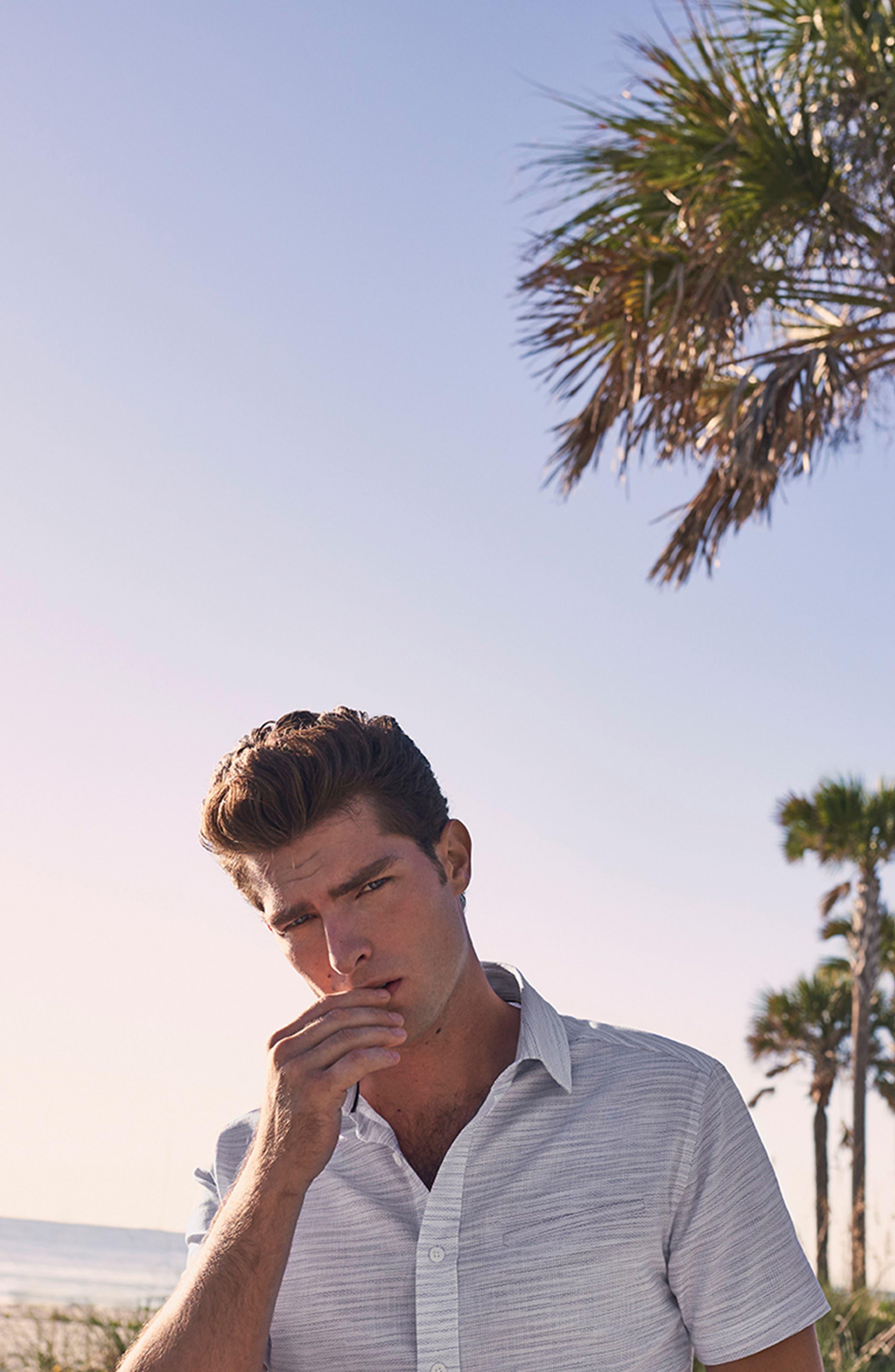 Slim Fit Stripe Short Sleeve Sport Shirt,                             Alternate thumbnail 7, color,                             Light/ Pastel Blue Dobby