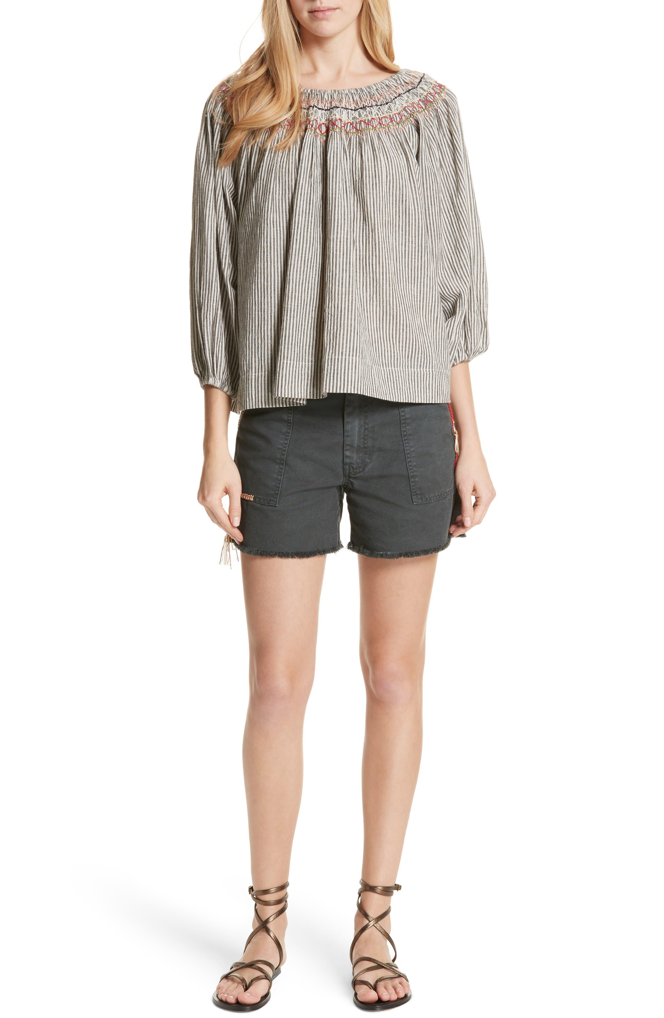 The Vista Cotton & Linen Top,                             Alternate thumbnail 7, color,                             Rail Stripe