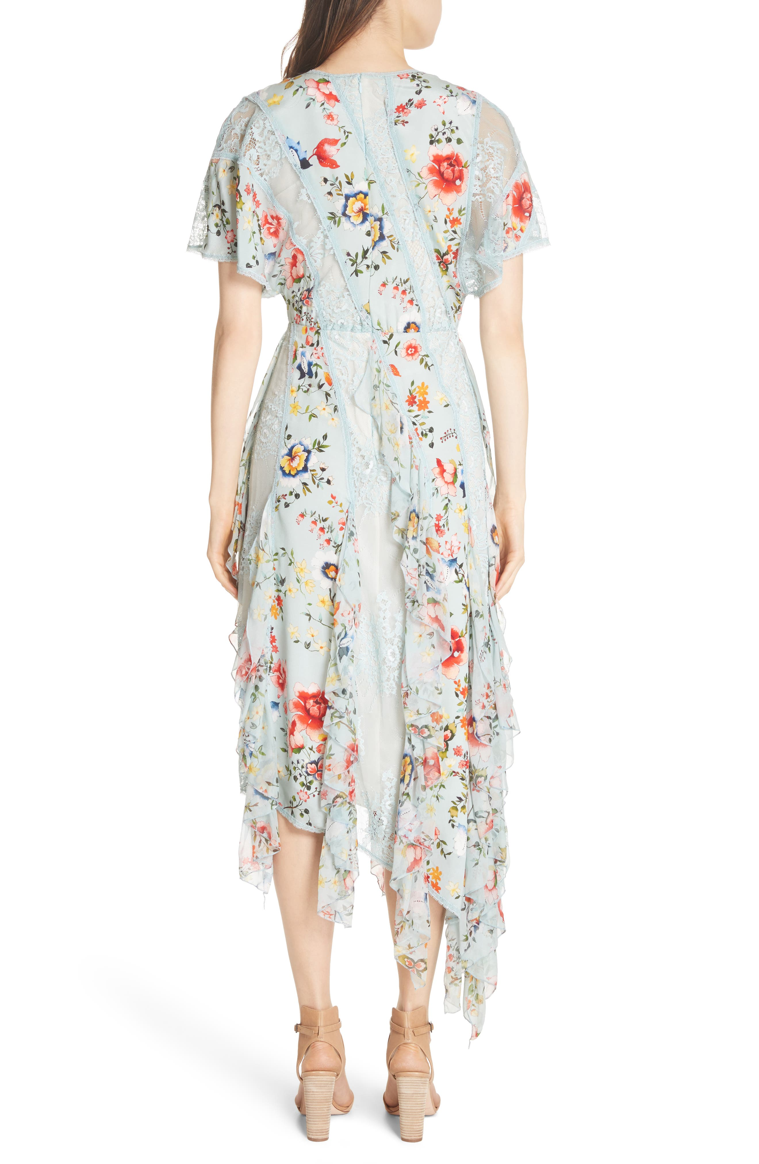 Alternate Image 2  - Alice + Olivia Kadence Ruffled Silk & Lace Midi Dress