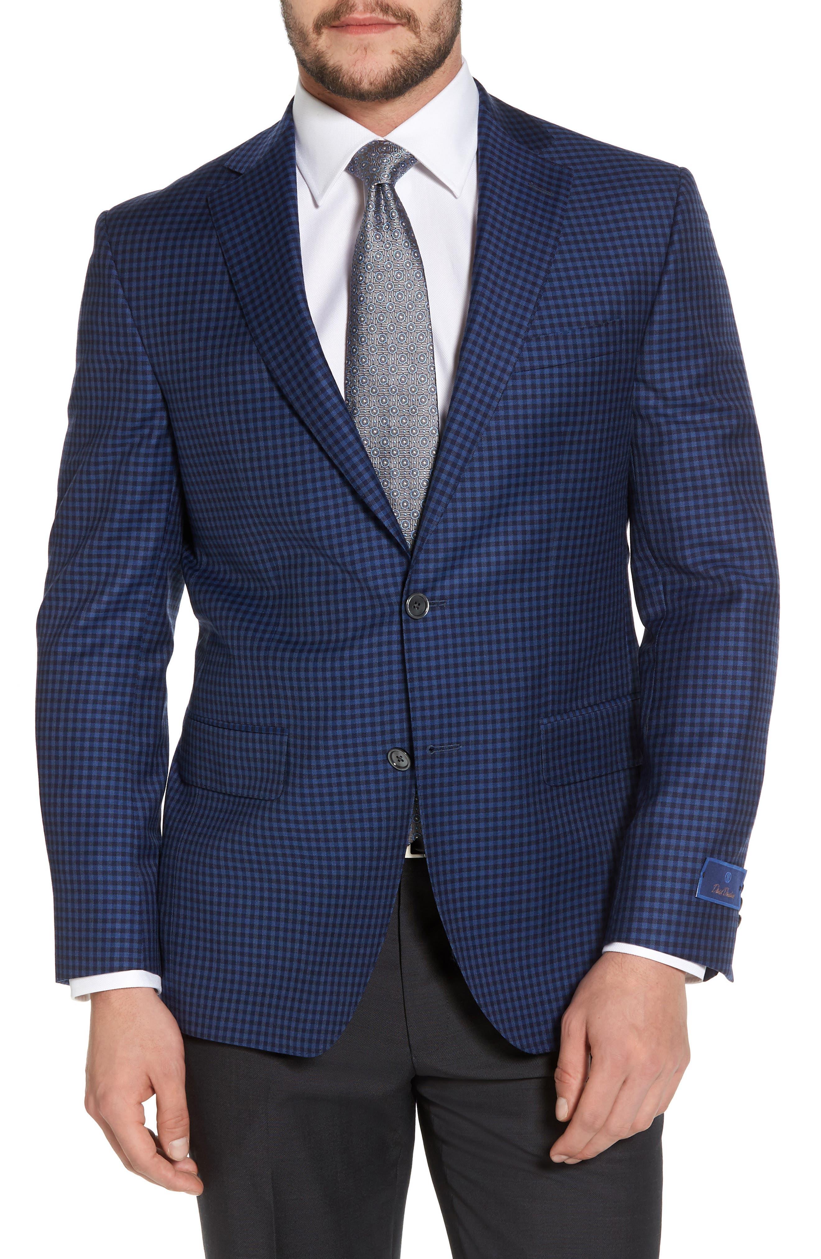 Connor Classic Fit Check Wool Sport Coat,                         Main,                         color, Medium Blue