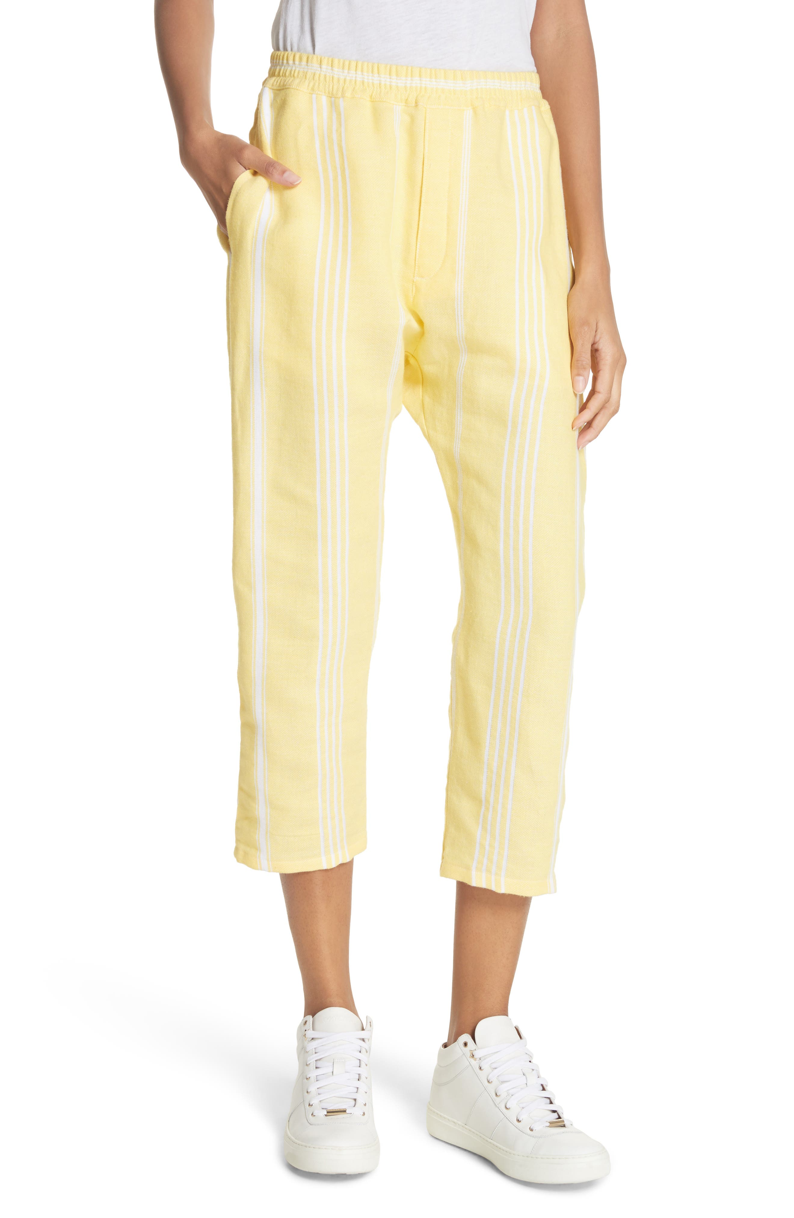 Stripe Cotton Beach Pants,                         Main,                         color, Yellow