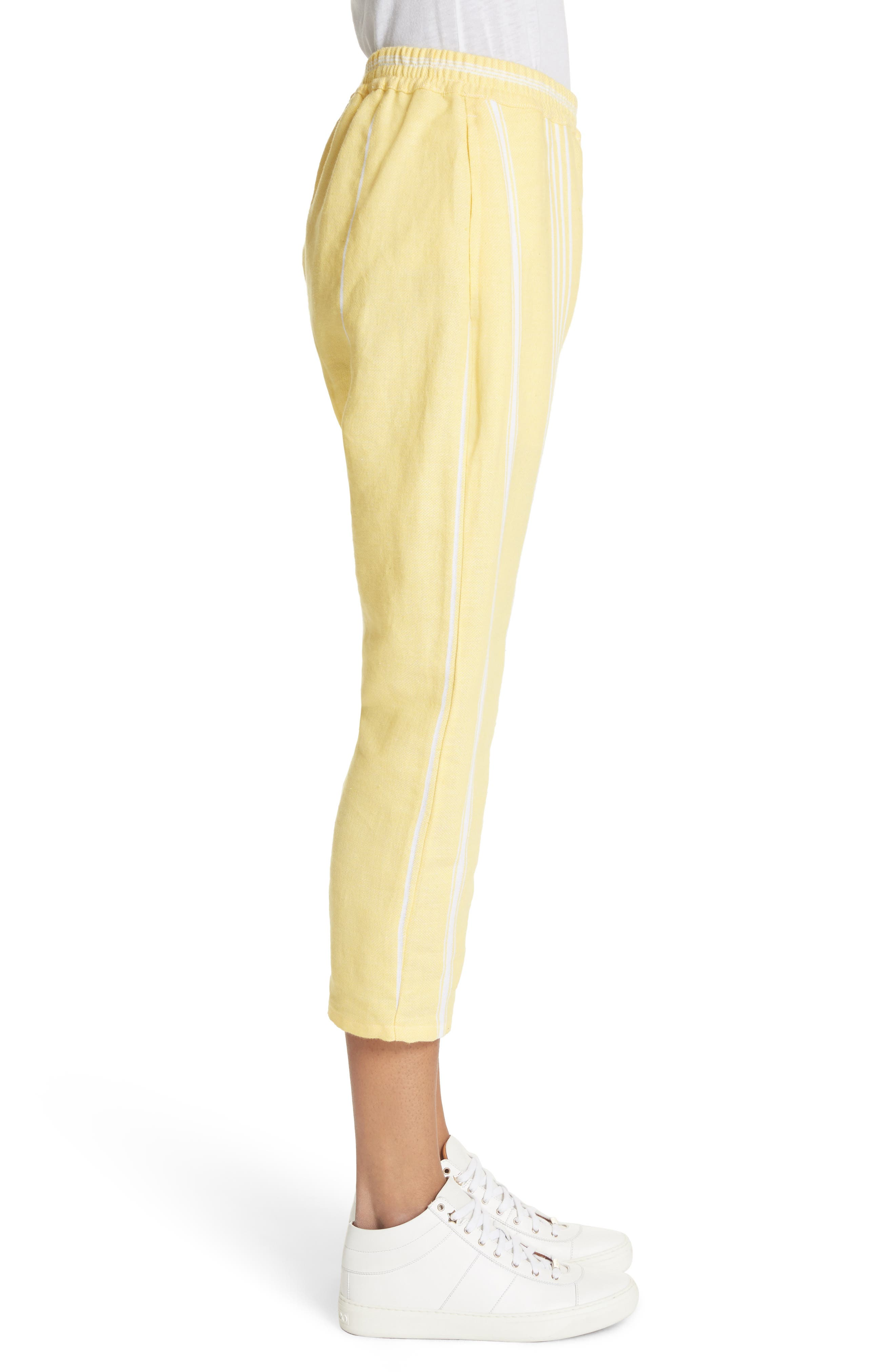 Stripe Cotton Beach Pants,                             Alternate thumbnail 3, color,                             Yellow