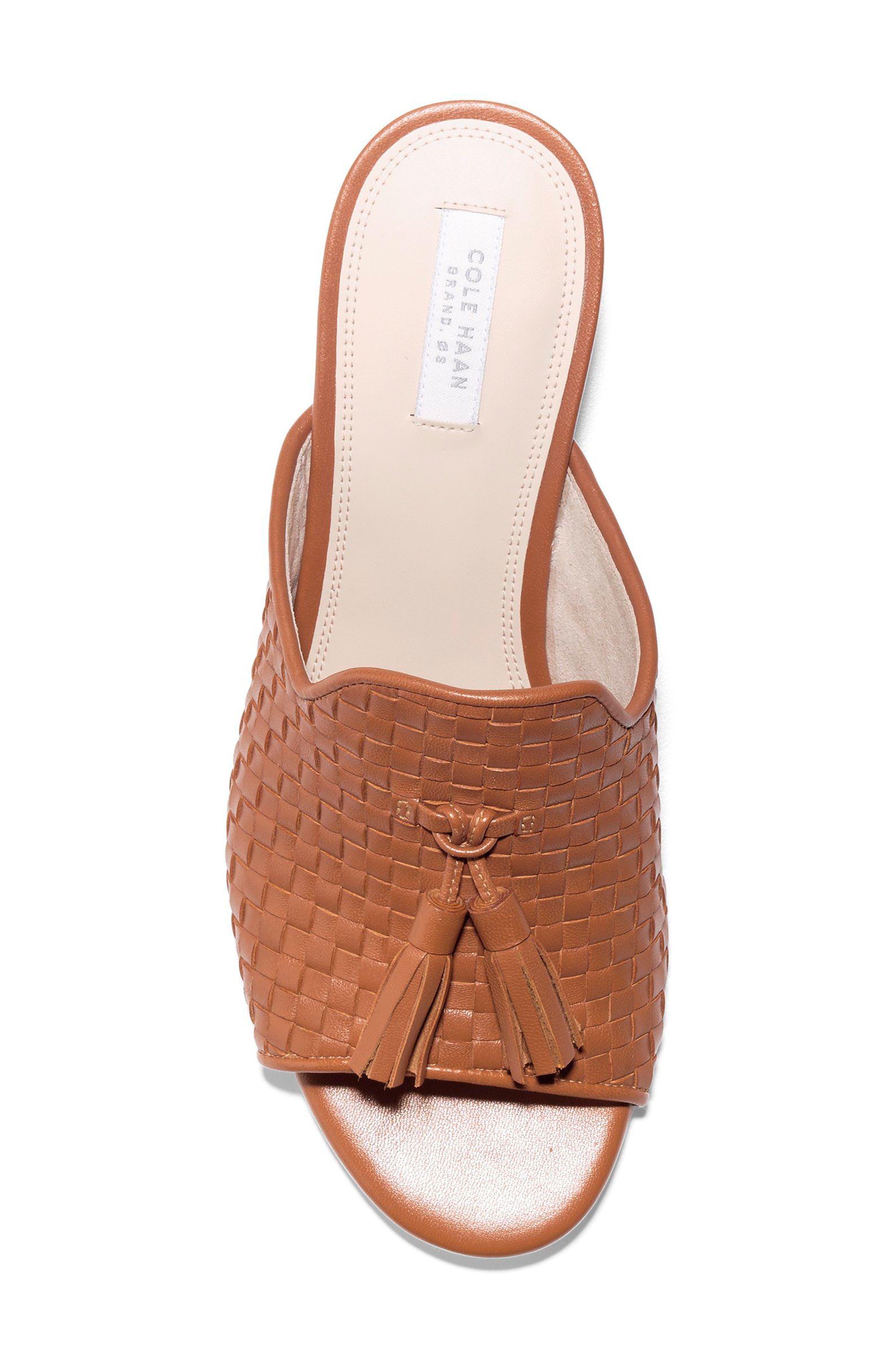 Jagger Wedge Sandal,                             Alternate thumbnail 5, color,                             Acorn Leather