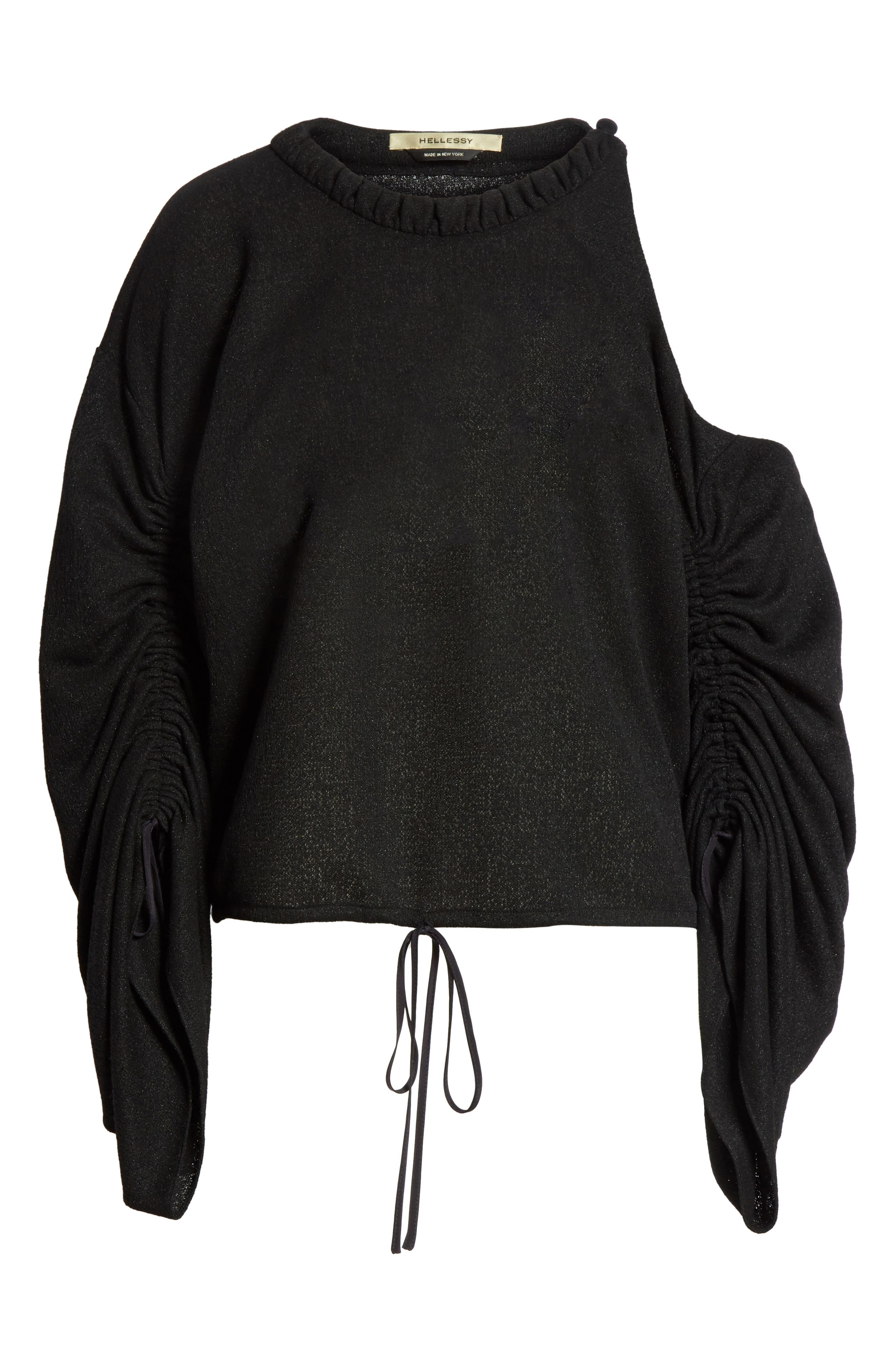 Joshua Cold Shoulder Pullover,                             Alternate thumbnail 5, color,                             Black