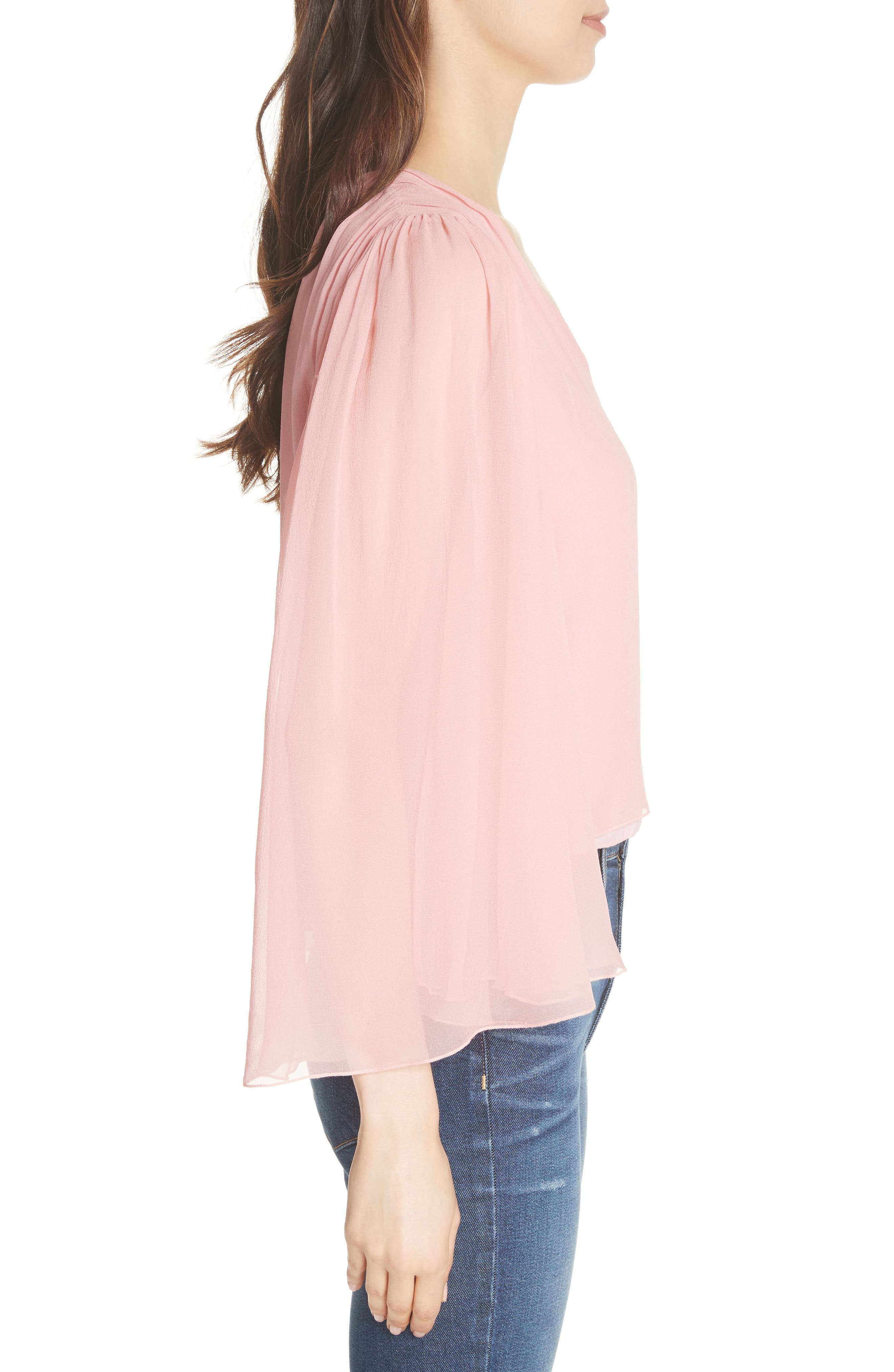 Jerrica Bell Sleeve Silk Blouse,                             Alternate thumbnail 3, color,                             Blossom