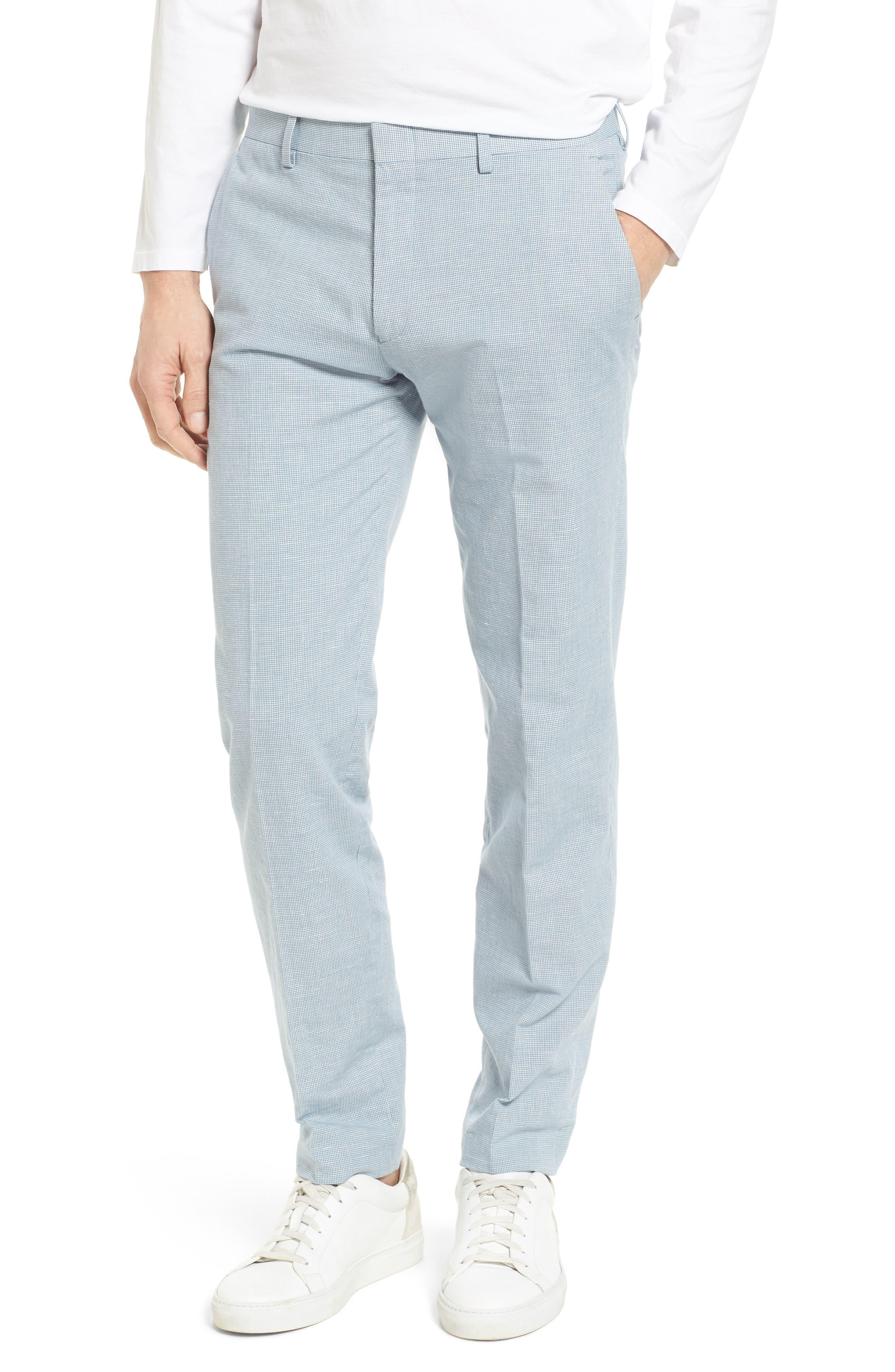 J.Crew Ludlow Trim Fit Houndstooth Cotton & Linen Suit Pants,                         Main,                         color, Light Blue