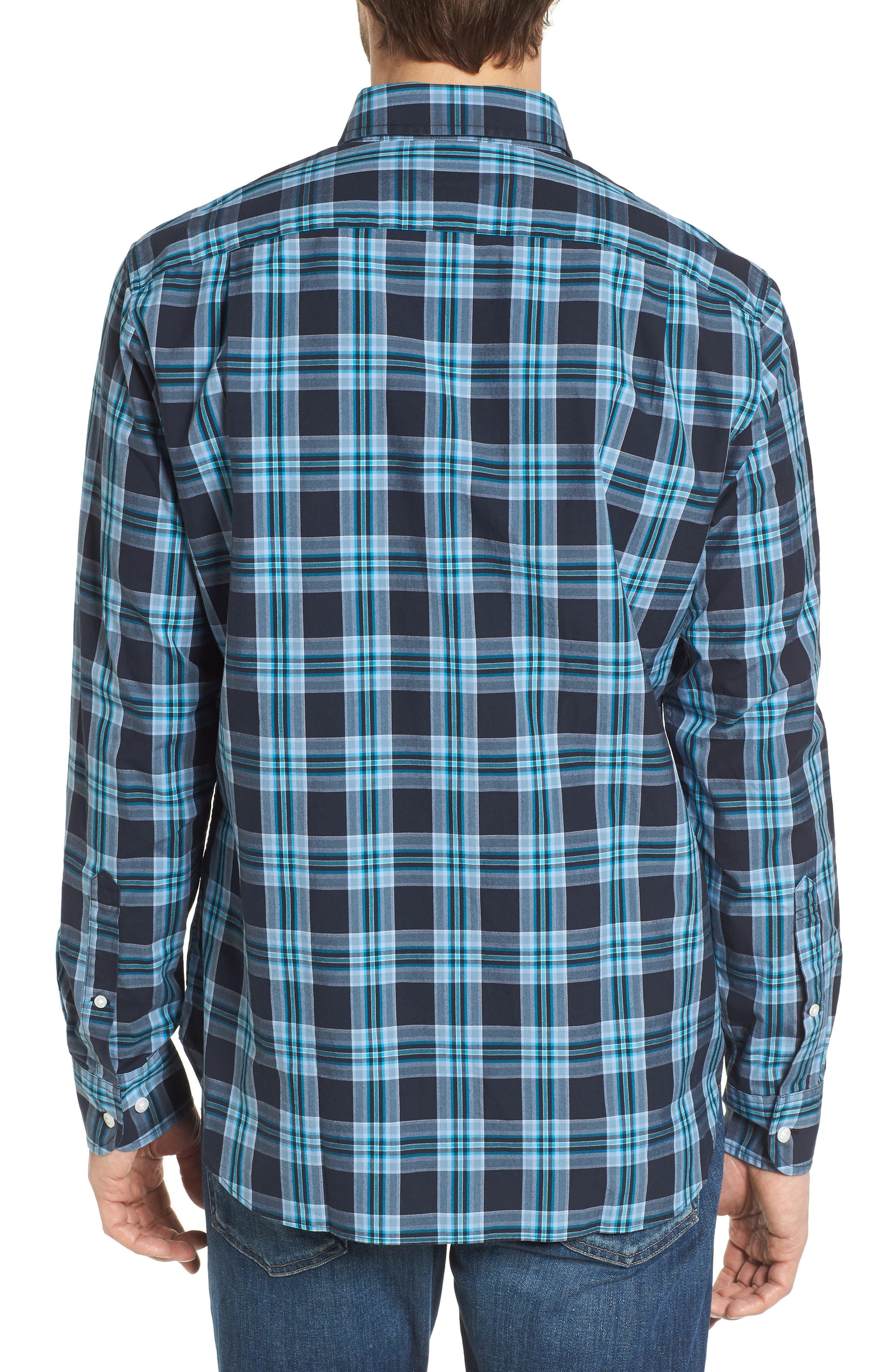 Slim Fit Washed Plaid Sport Shirt,                             Alternate thumbnail 3, color,                             Night Swim