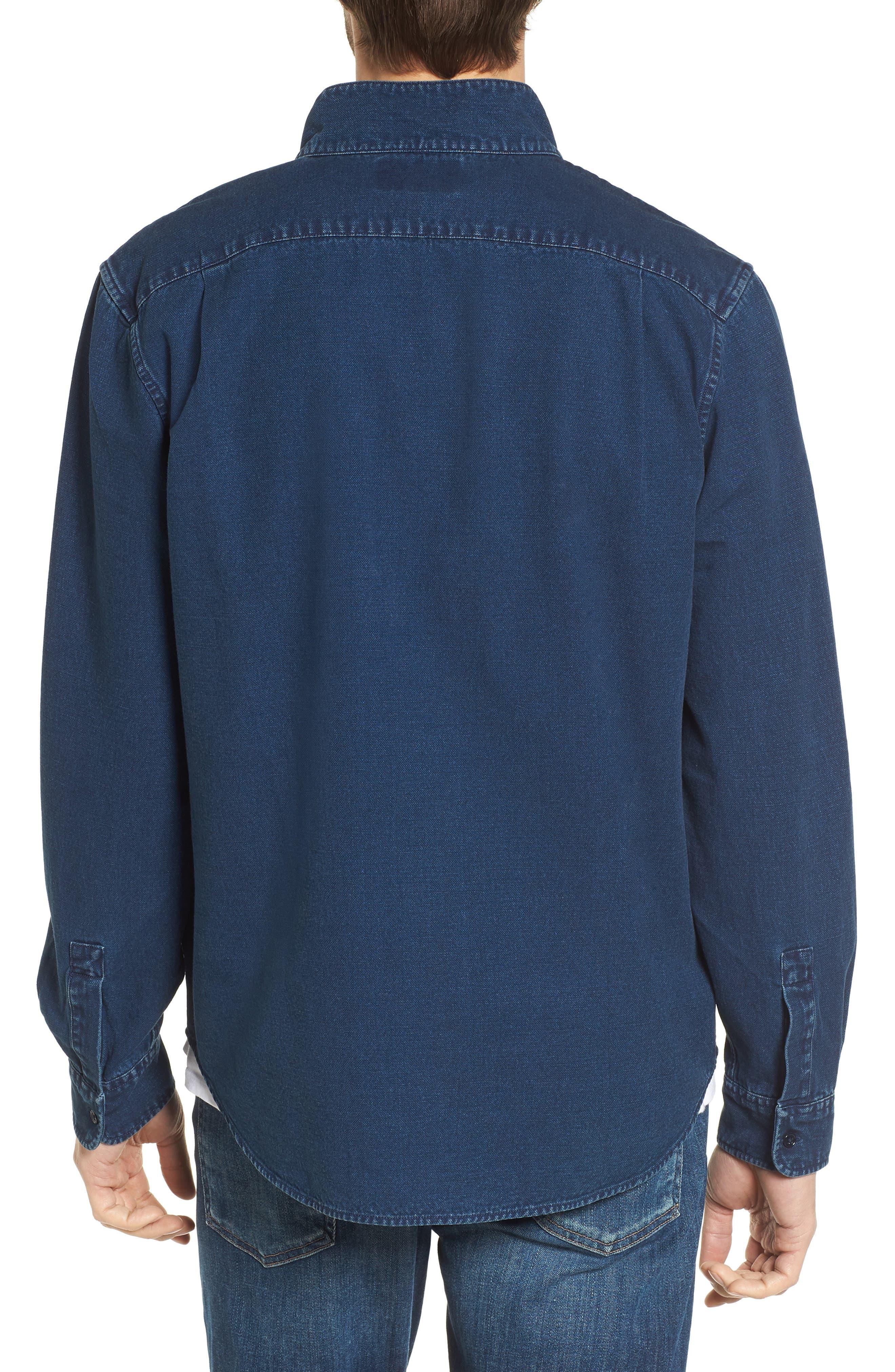 Band Collar Piqué Shirt,                             Alternate thumbnail 3, color,                             Indigo