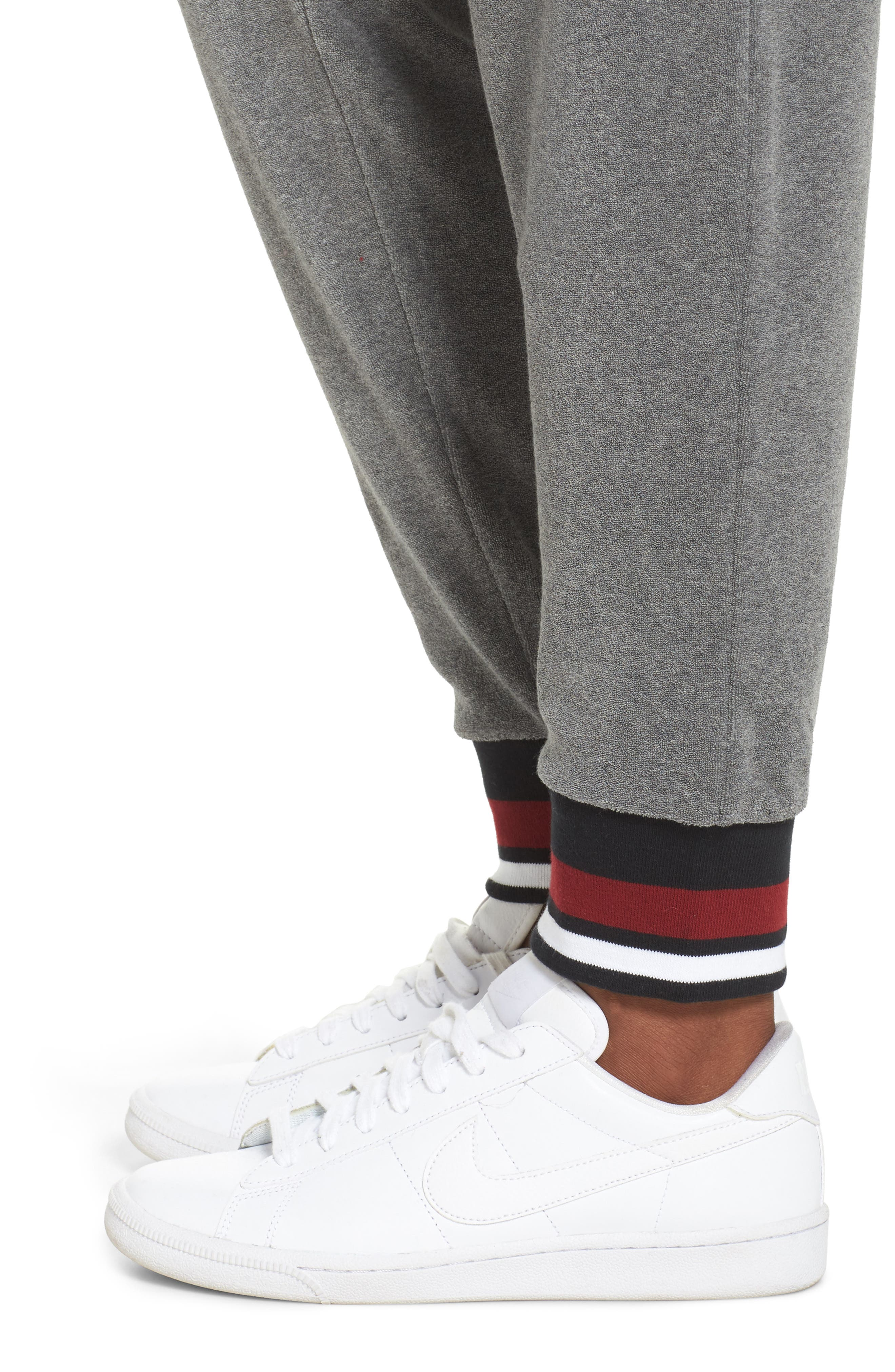 Sportswear French Terry Pants,                             Alternate thumbnail 4, color,                             Carbon Heather/ Team Red
