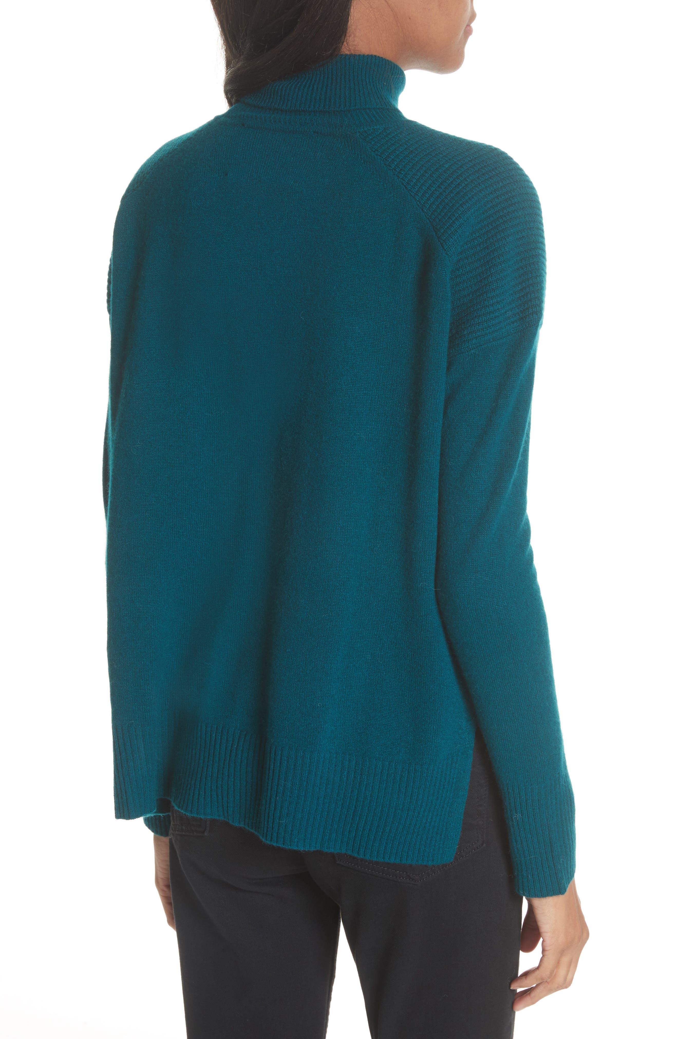 Rolled Turtleneck Cashmere Sweater,                             Alternate thumbnail 2, color,                             Vert