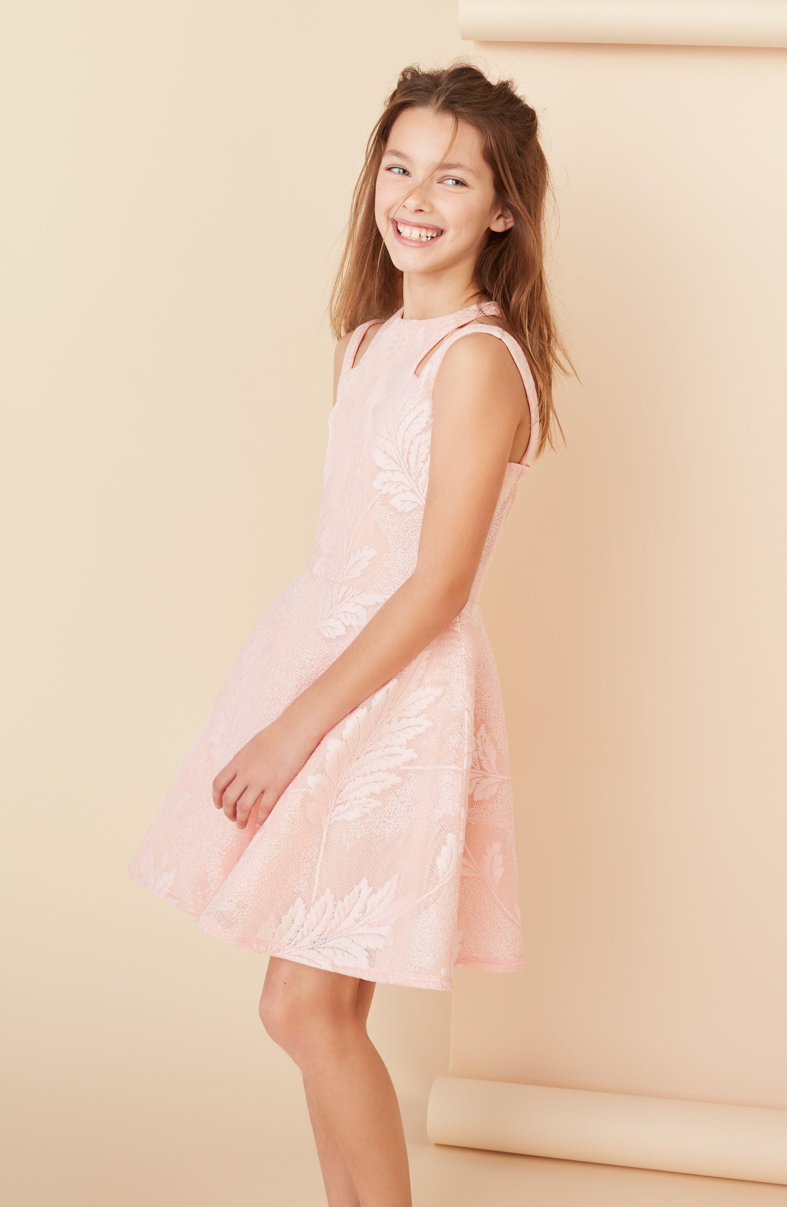 Split Strap Lace Fit & Flare Dress,                             Alternate thumbnail 6, color,