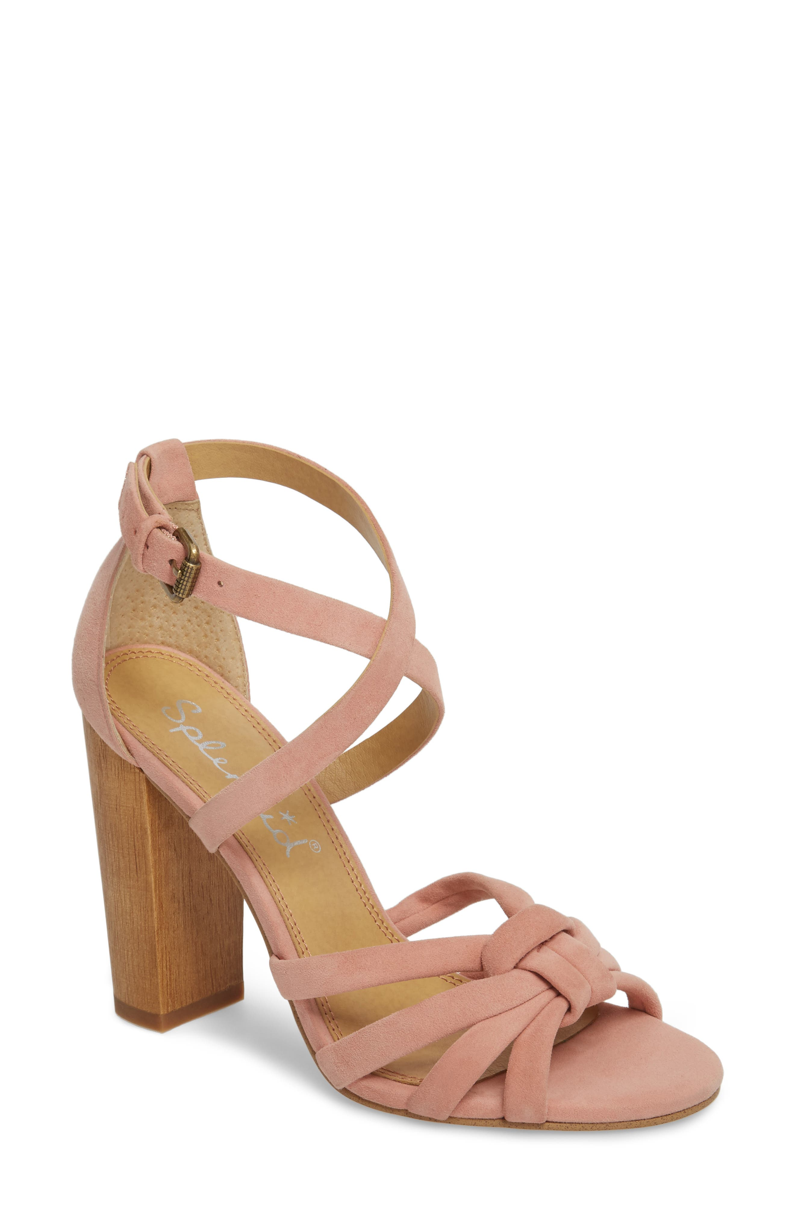 Faris Block Heel Sandal,                             Main thumbnail 1, color,                             Blush Suede