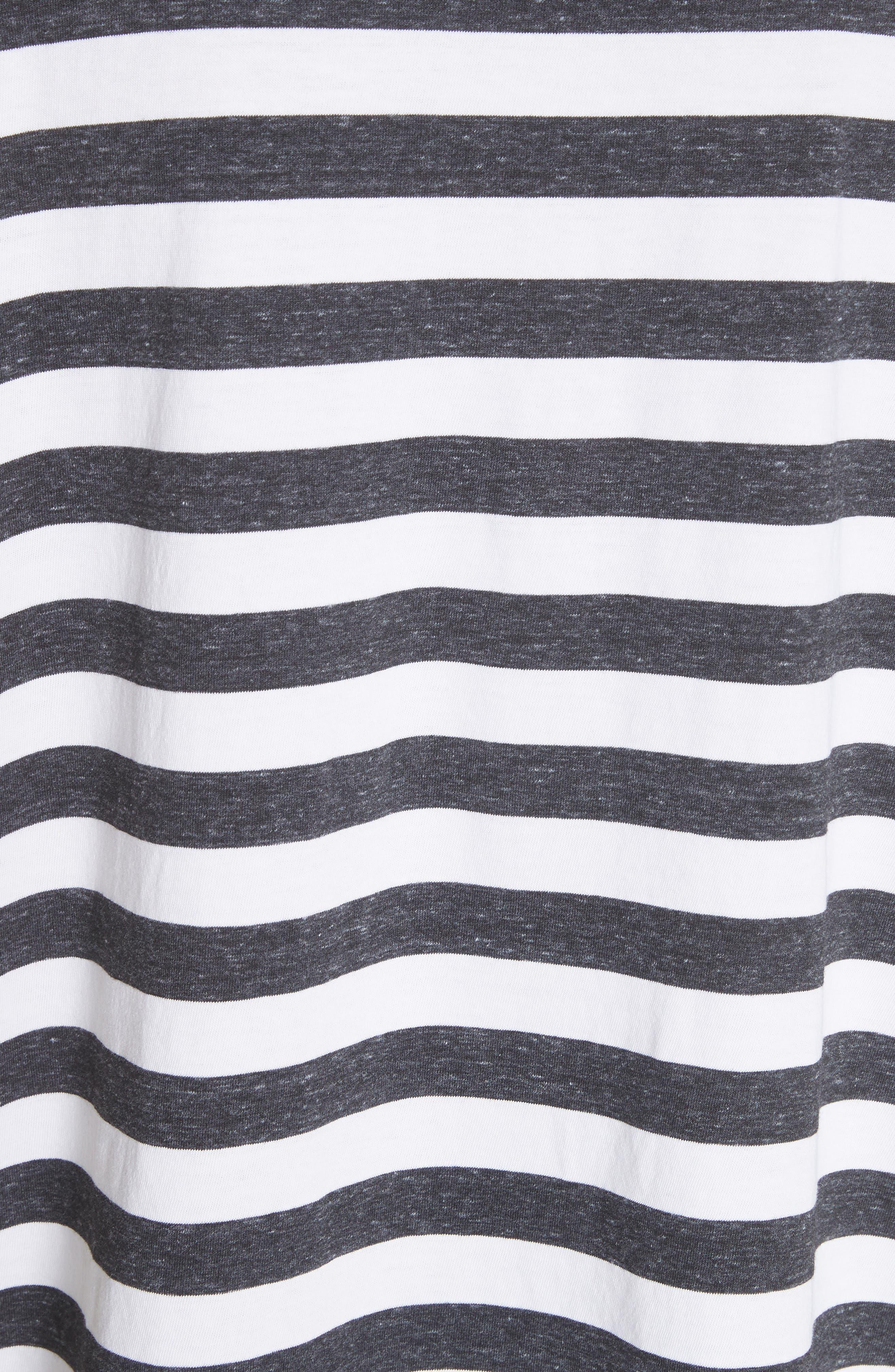 The Ruffle Stripe Tee,                             Alternate thumbnail 5, color,                             Charcoal Stripe