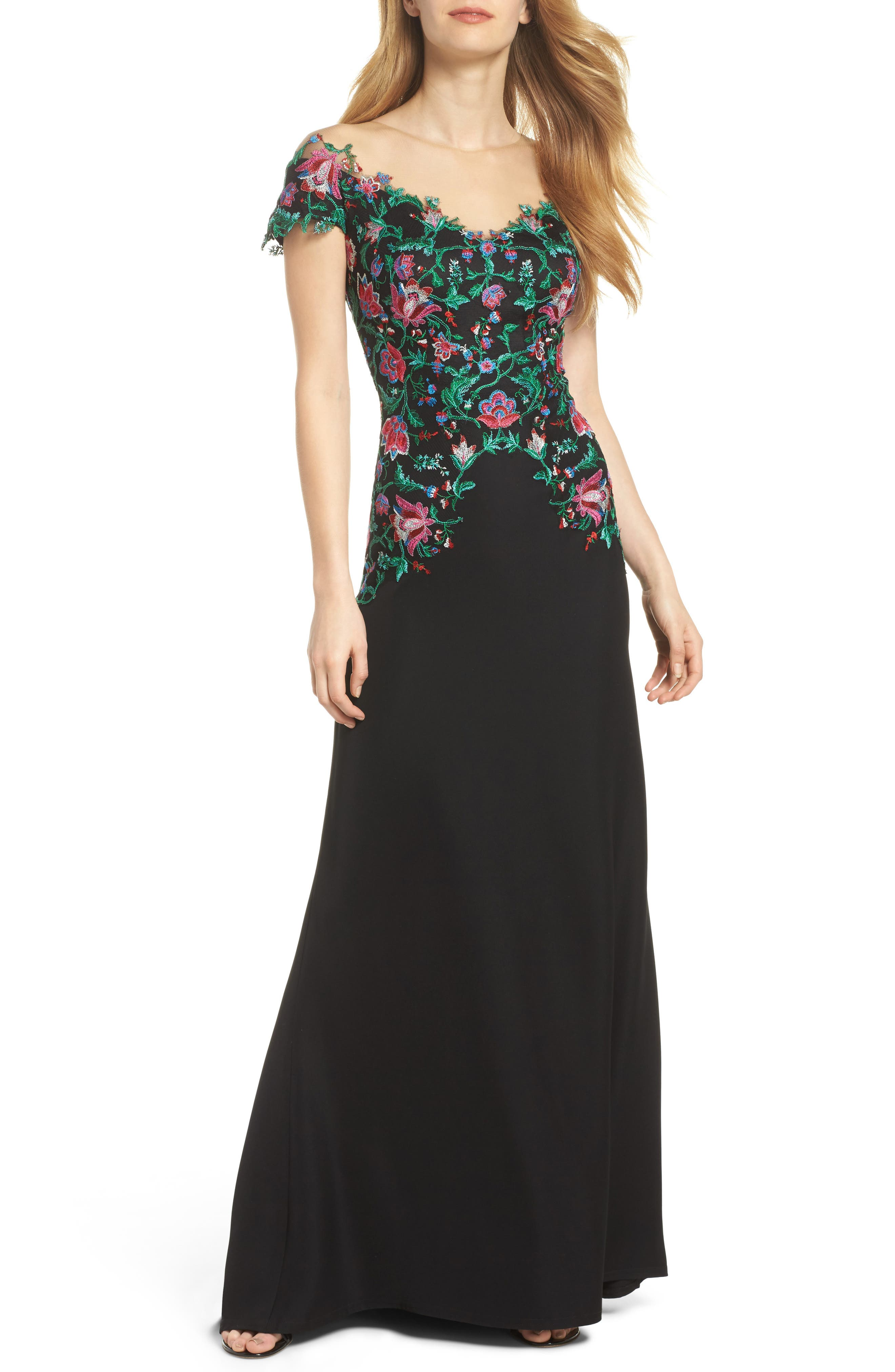 Embroidered Illusion Gown,                             Main thumbnail 1, color,                             Black Dahlia