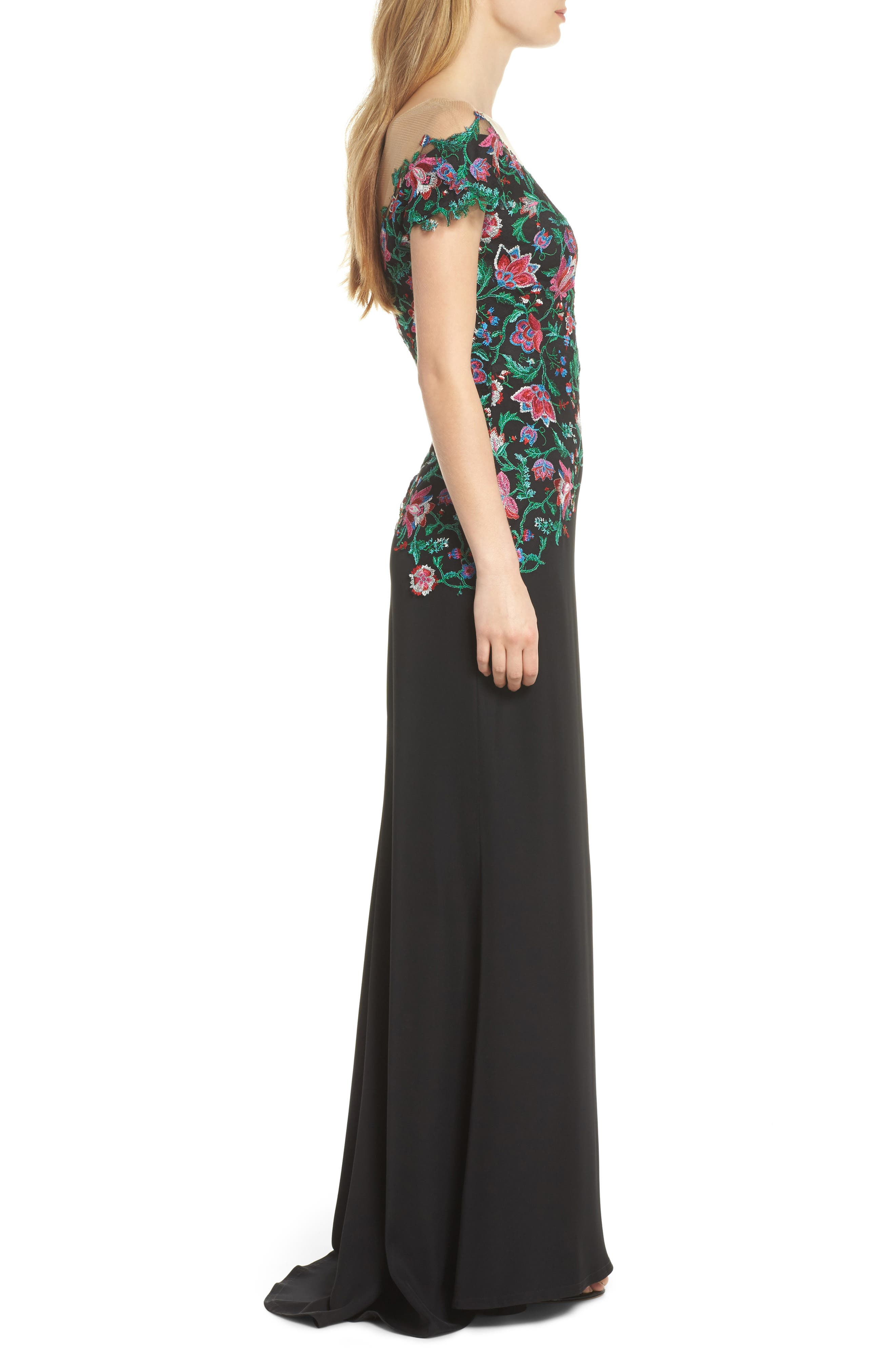 Embroidered Illusion Gown,                             Alternate thumbnail 3, color,                             Black Dahlia