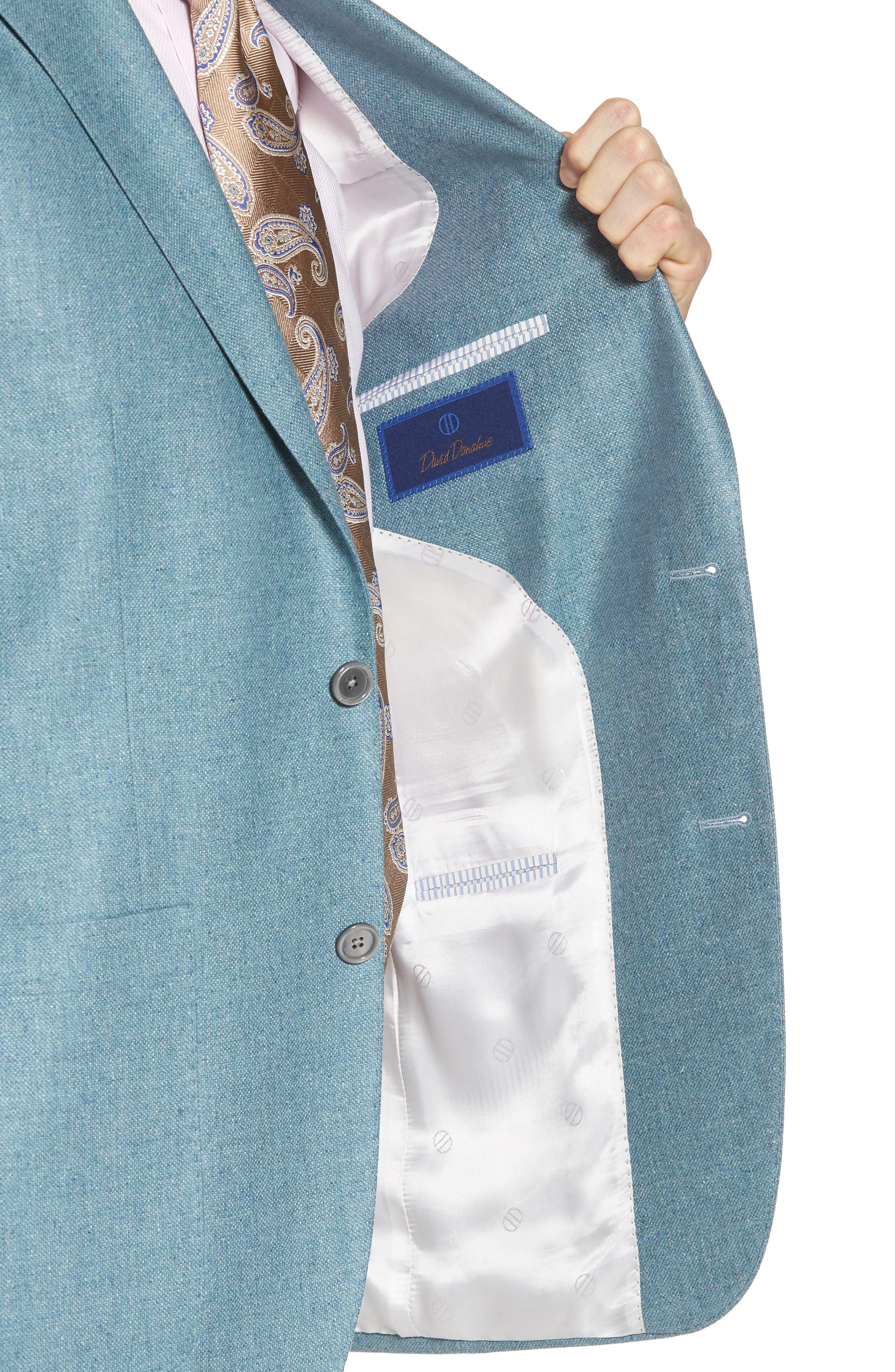 Aiden Classic Fit Silk & Wool Blazer,                             Alternate thumbnail 4, color,                             Teal