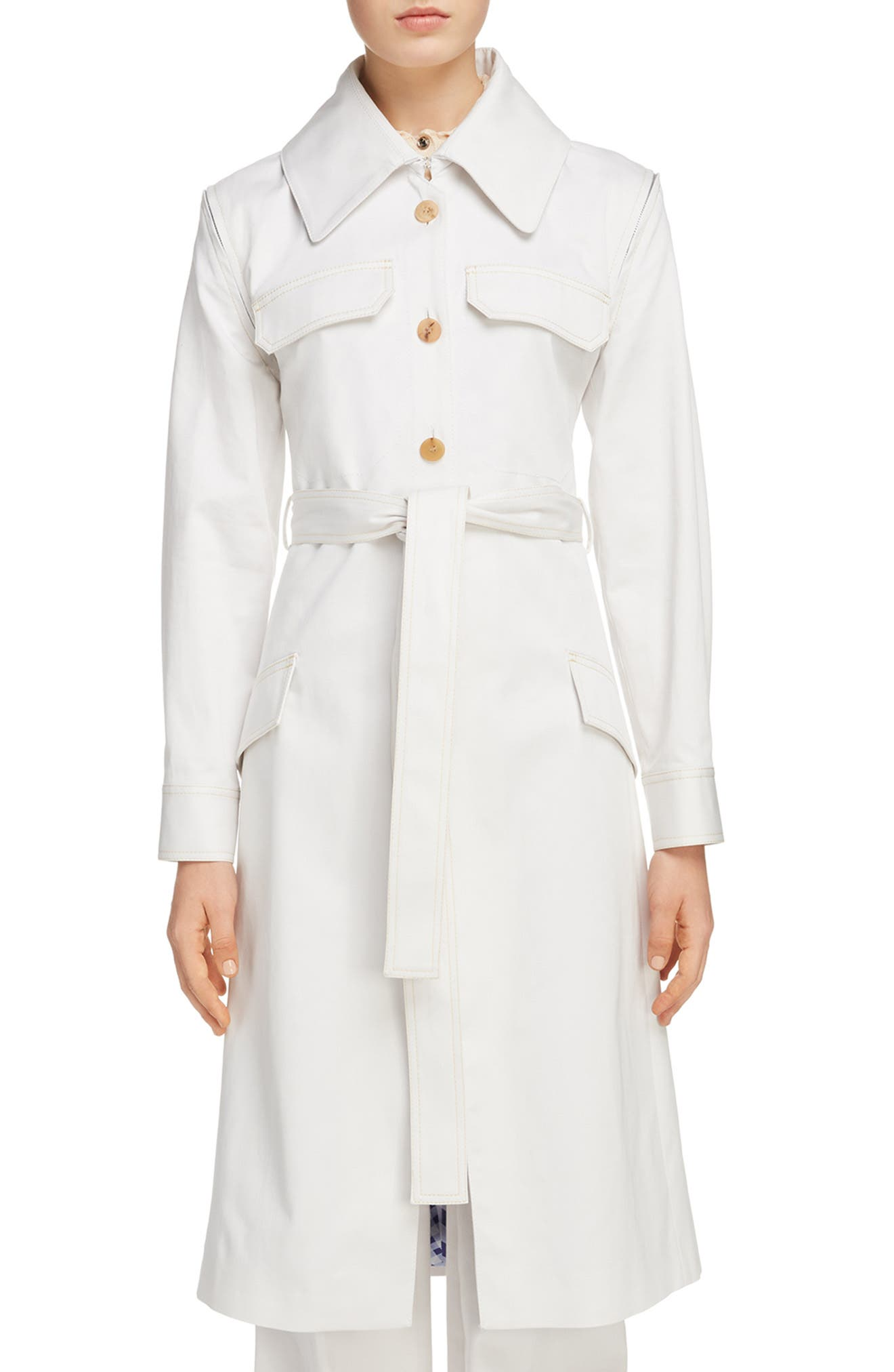 Olesia Removable Sleeve Belted Coat,                             Main thumbnail 1, color,                             Dirty White