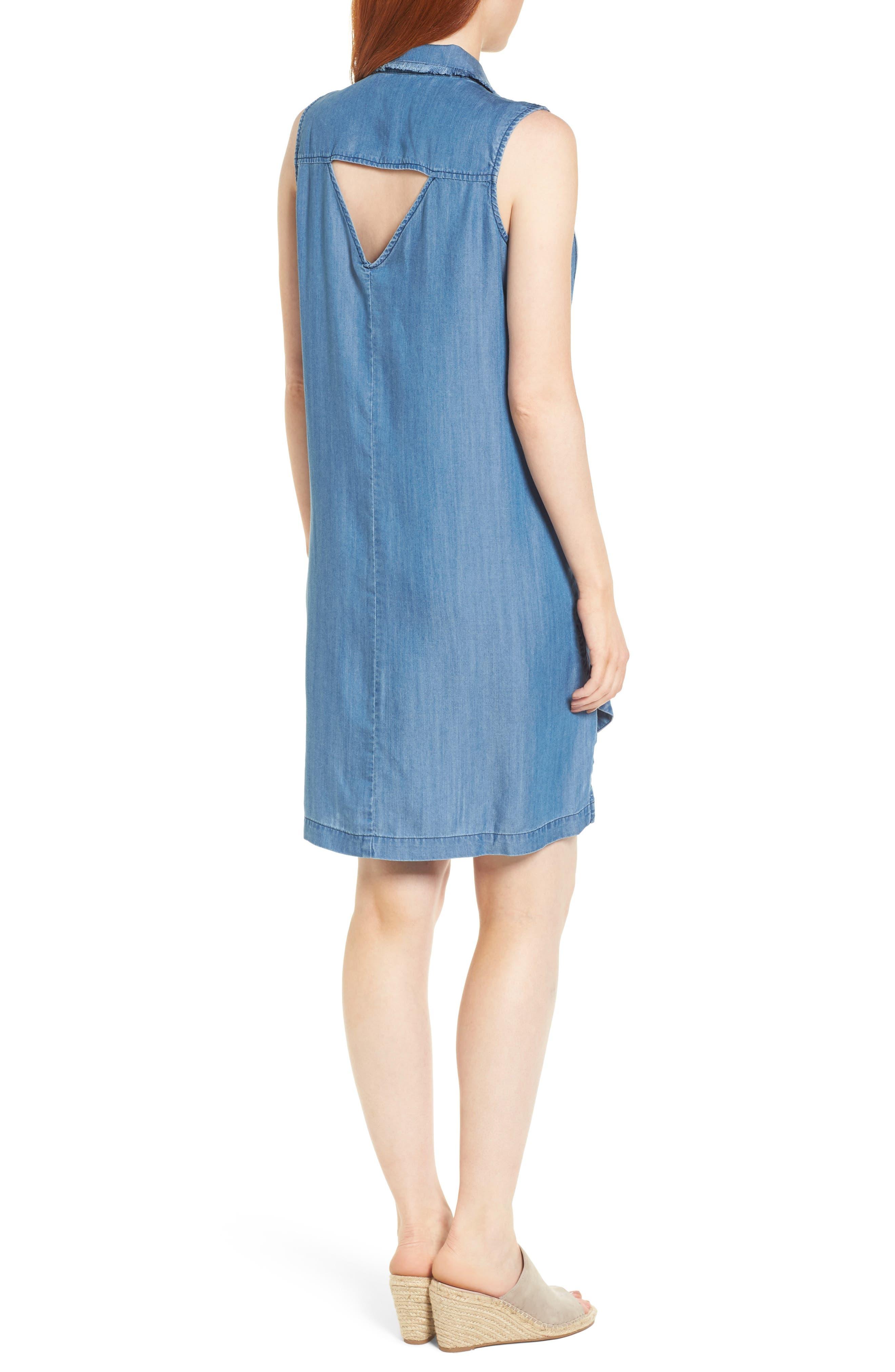 Sleeveless Back Cutout Shirtdress,                             Alternate thumbnail 2, color,                             Blue