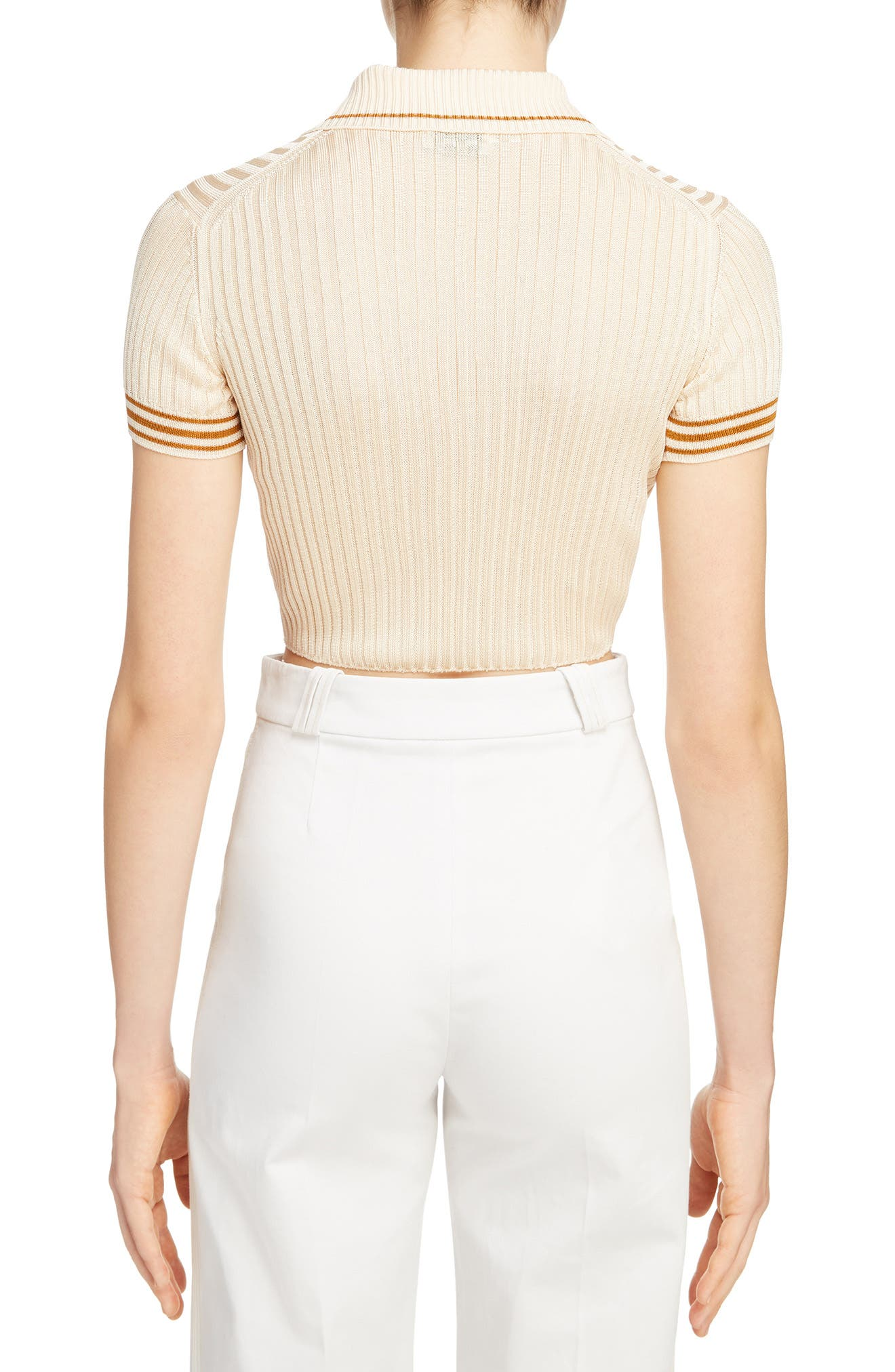 Shanita Lingerie Crop Polo Sweater,                             Alternate thumbnail 2, color,                             Ivory White/ Tobacco Stripe