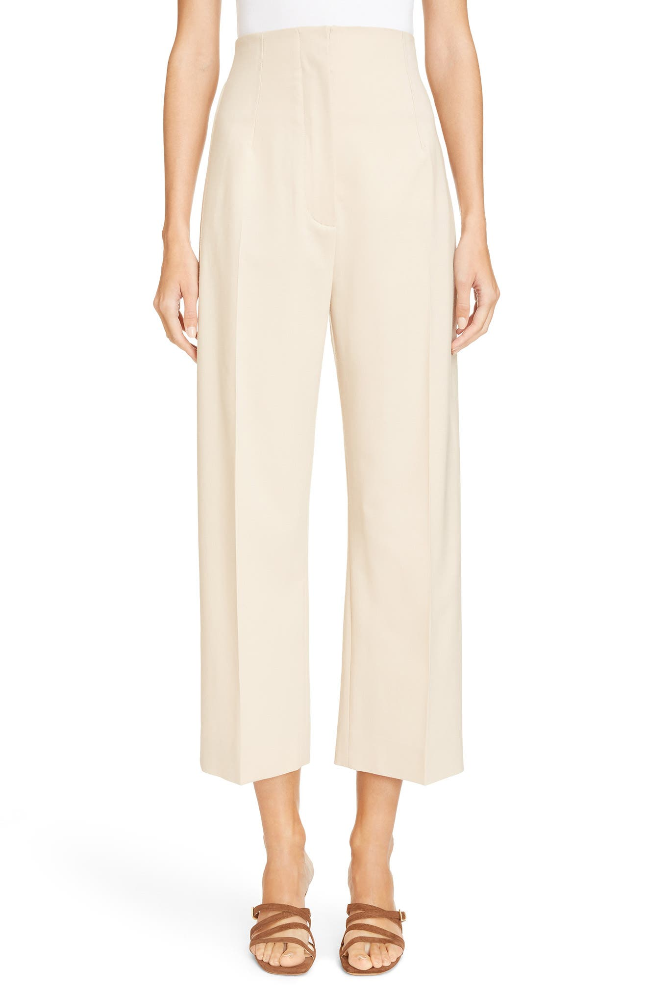 Le Pantalon Droit High Waist Crop Pants,                             Main thumbnail 1, color,                             Beige