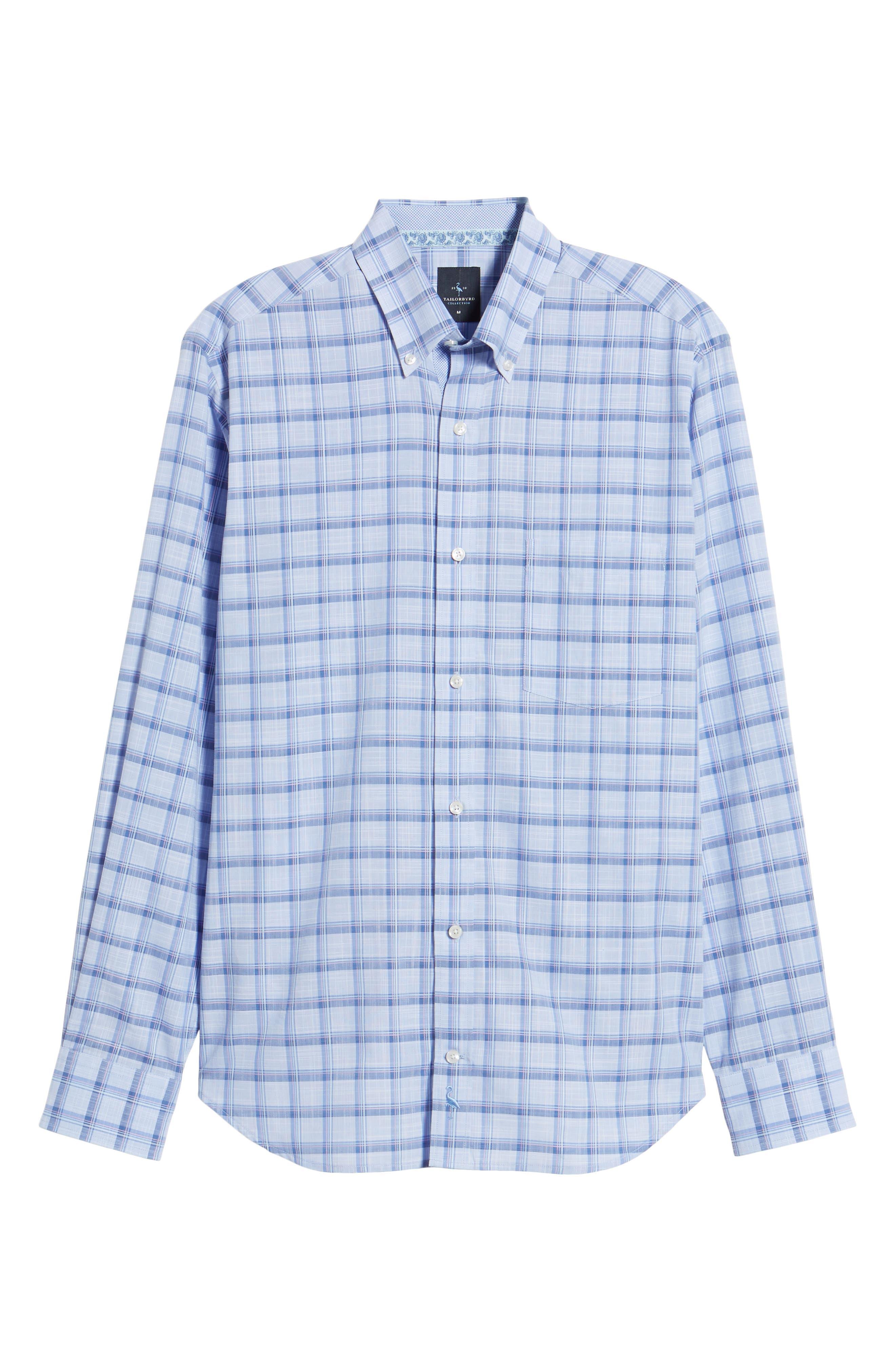 Banks Regular Fit Check Sport Shirt,                             Alternate thumbnail 6, color,                             Chambray