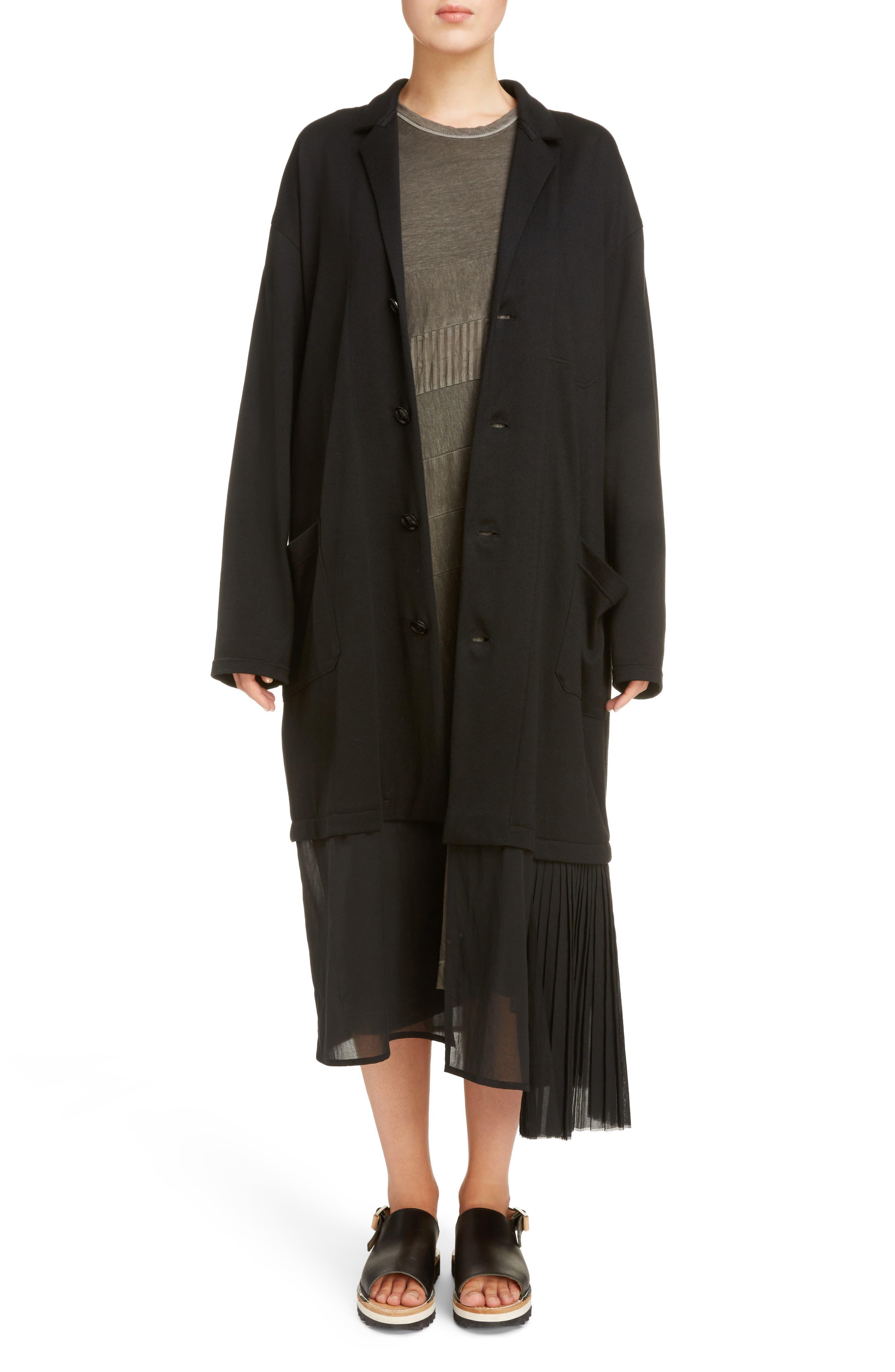 Tulle Hem Coat,                         Main,                         color, Black