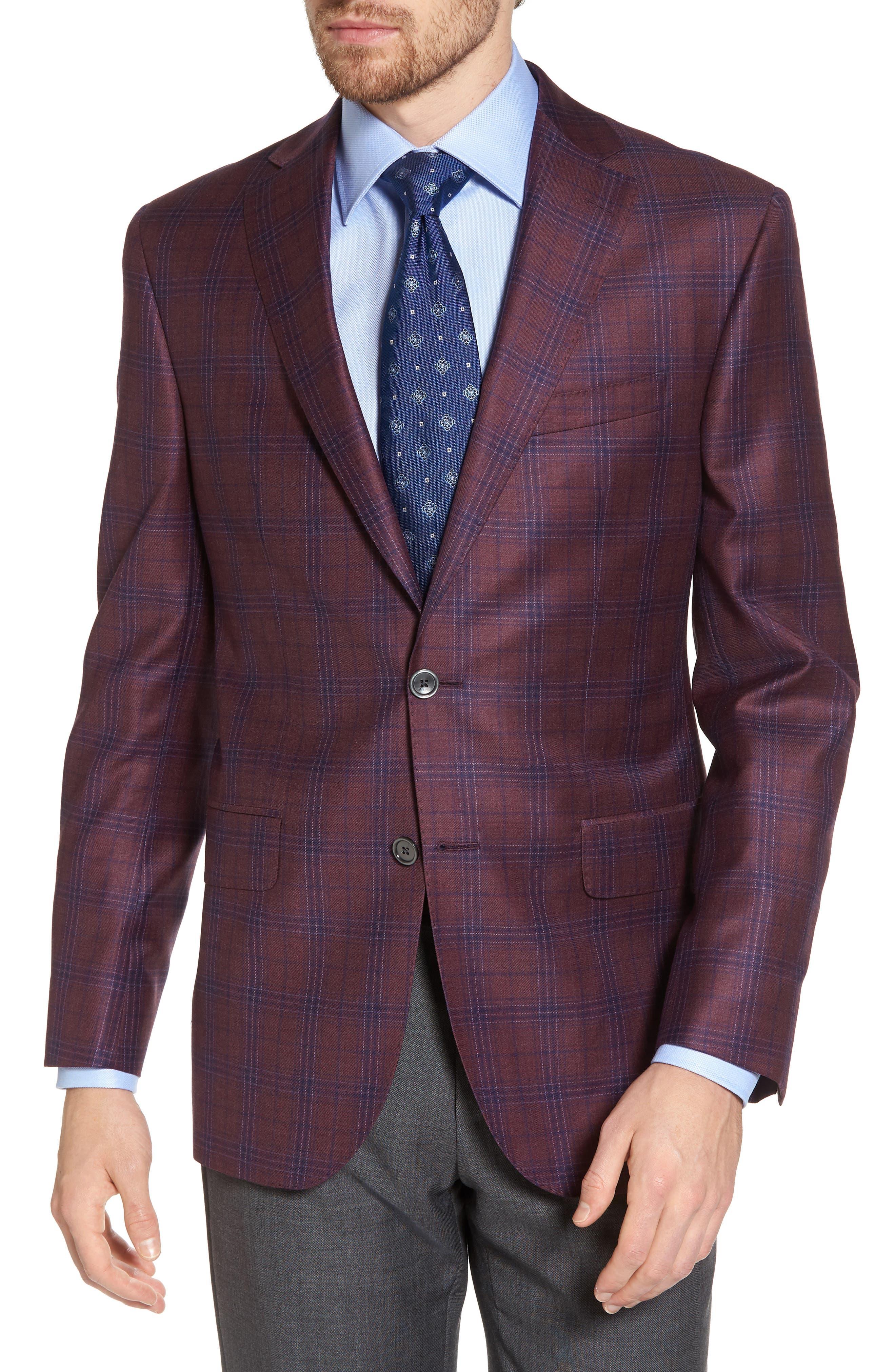 Connor Classic Fit Plaid Wool Sport Coat,                         Main,                         color, Burgundy