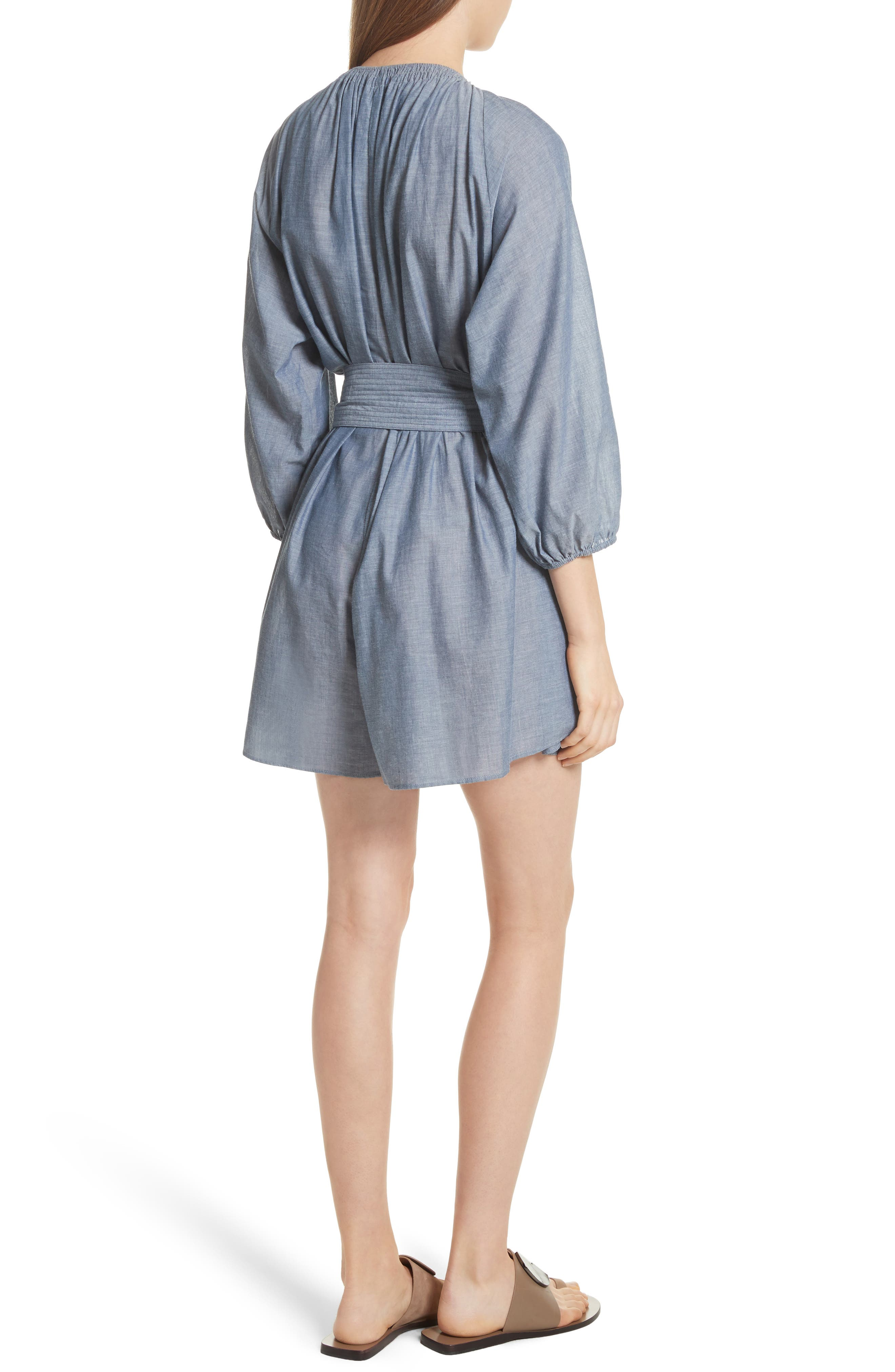 Isla Chambray Tie Waist Romper,                             Alternate thumbnail 2, color,                             Chambray