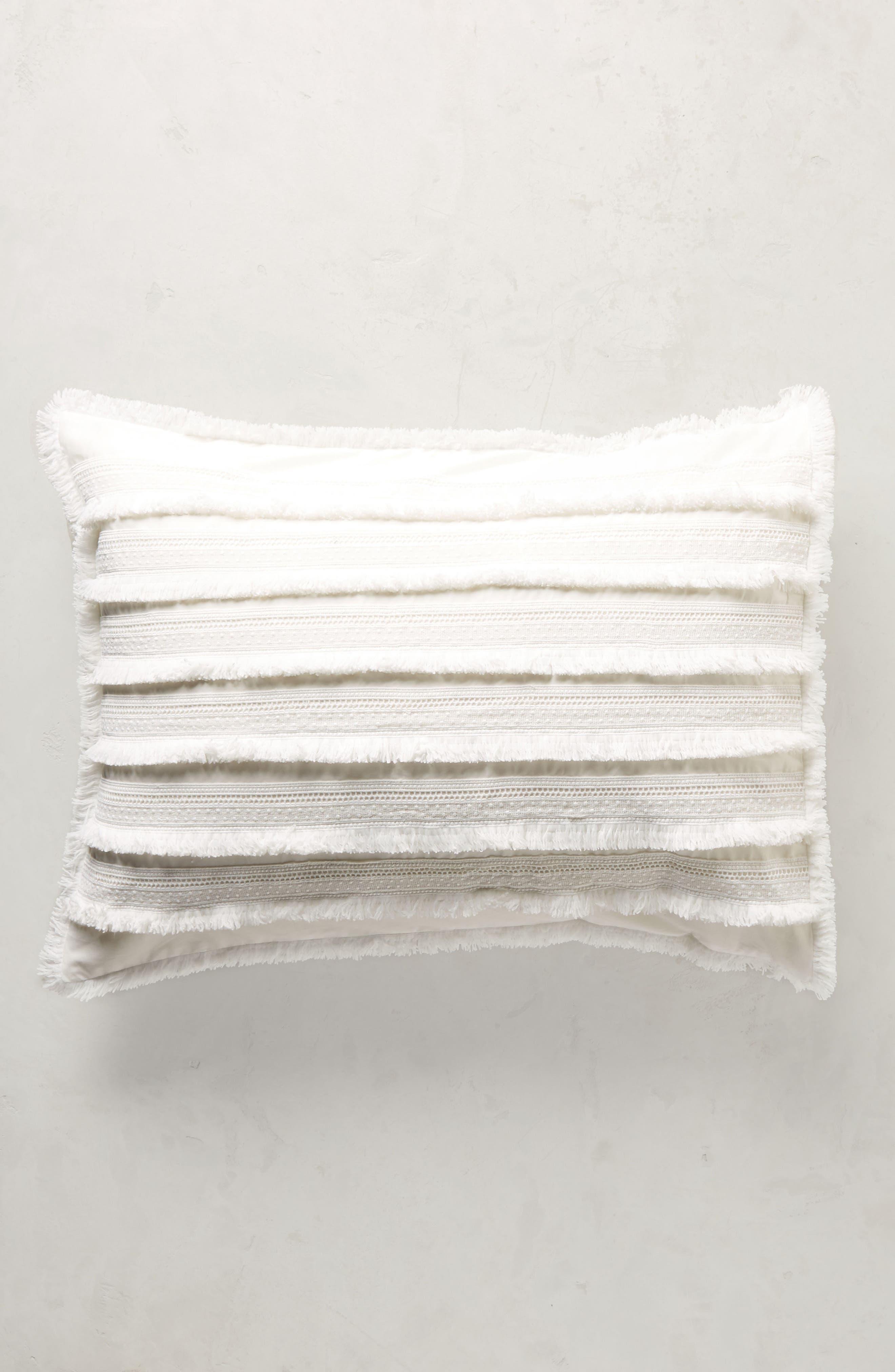 Fringe Set of Pillow Shams,                         Main,                         color, White