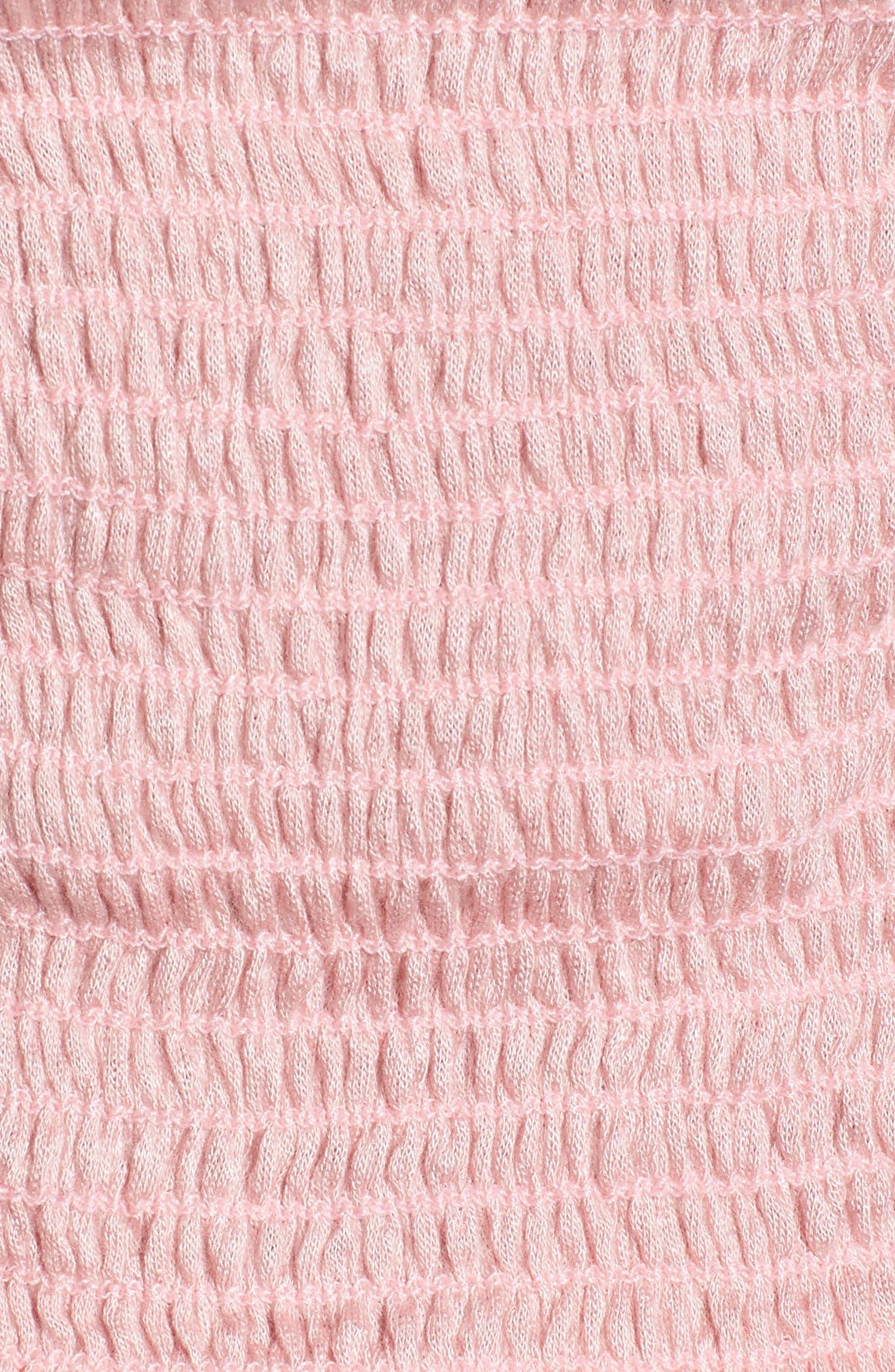 Smocked Off the Shoulder Neckline,                             Alternate thumbnail 6, color,                             Pink