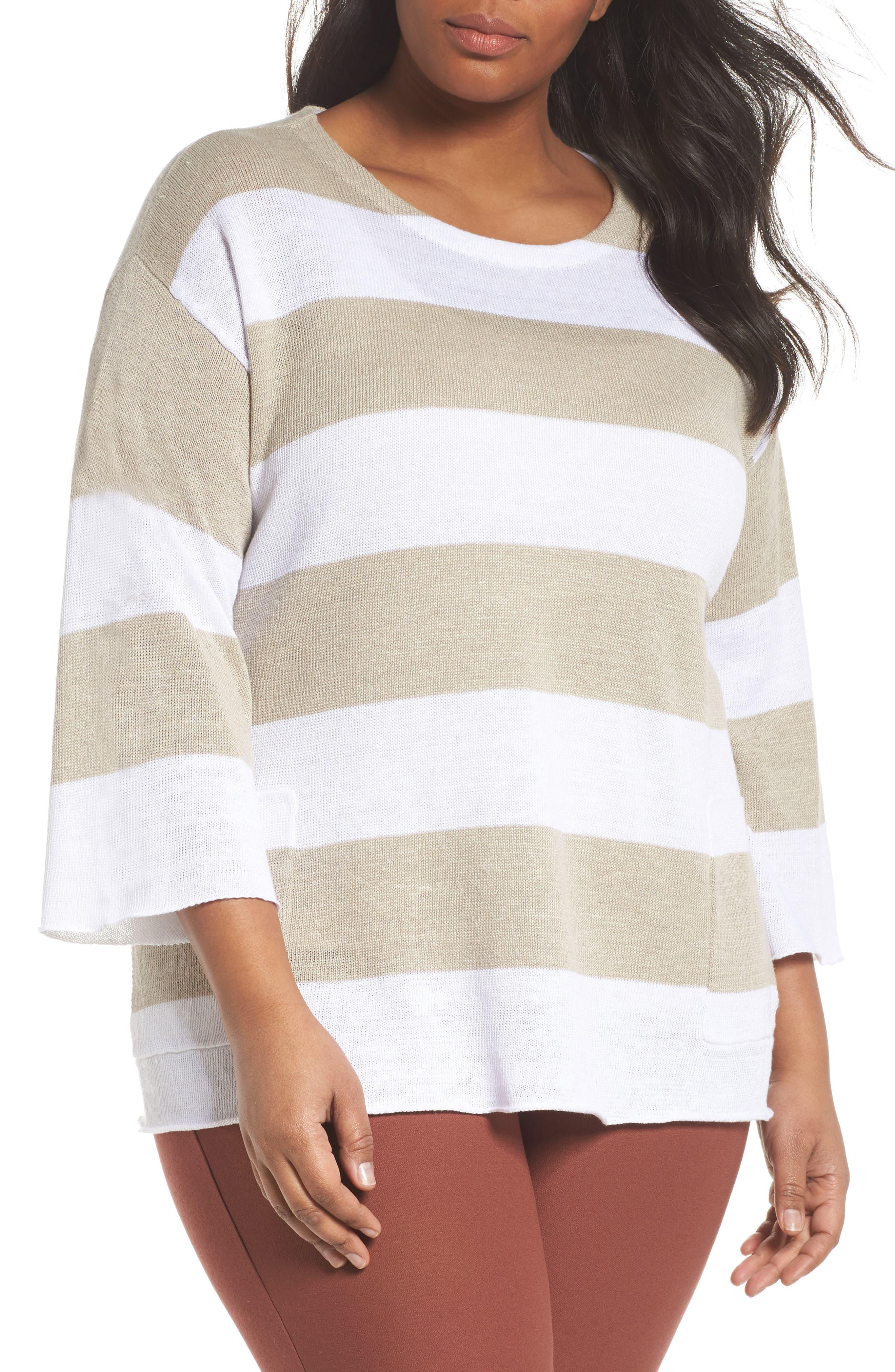 Eileen Fisher Stripe Linen Sweater (Plus Size)