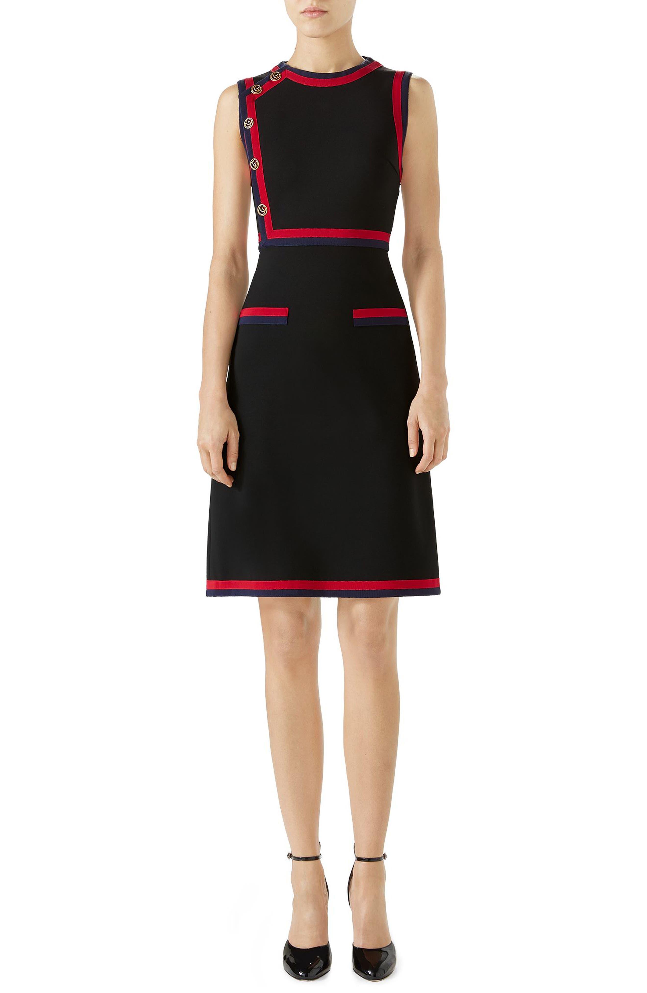 Stripe Trim Jersey A-Line Dress,                             Main thumbnail 1, color,                             Black/ Multicolor