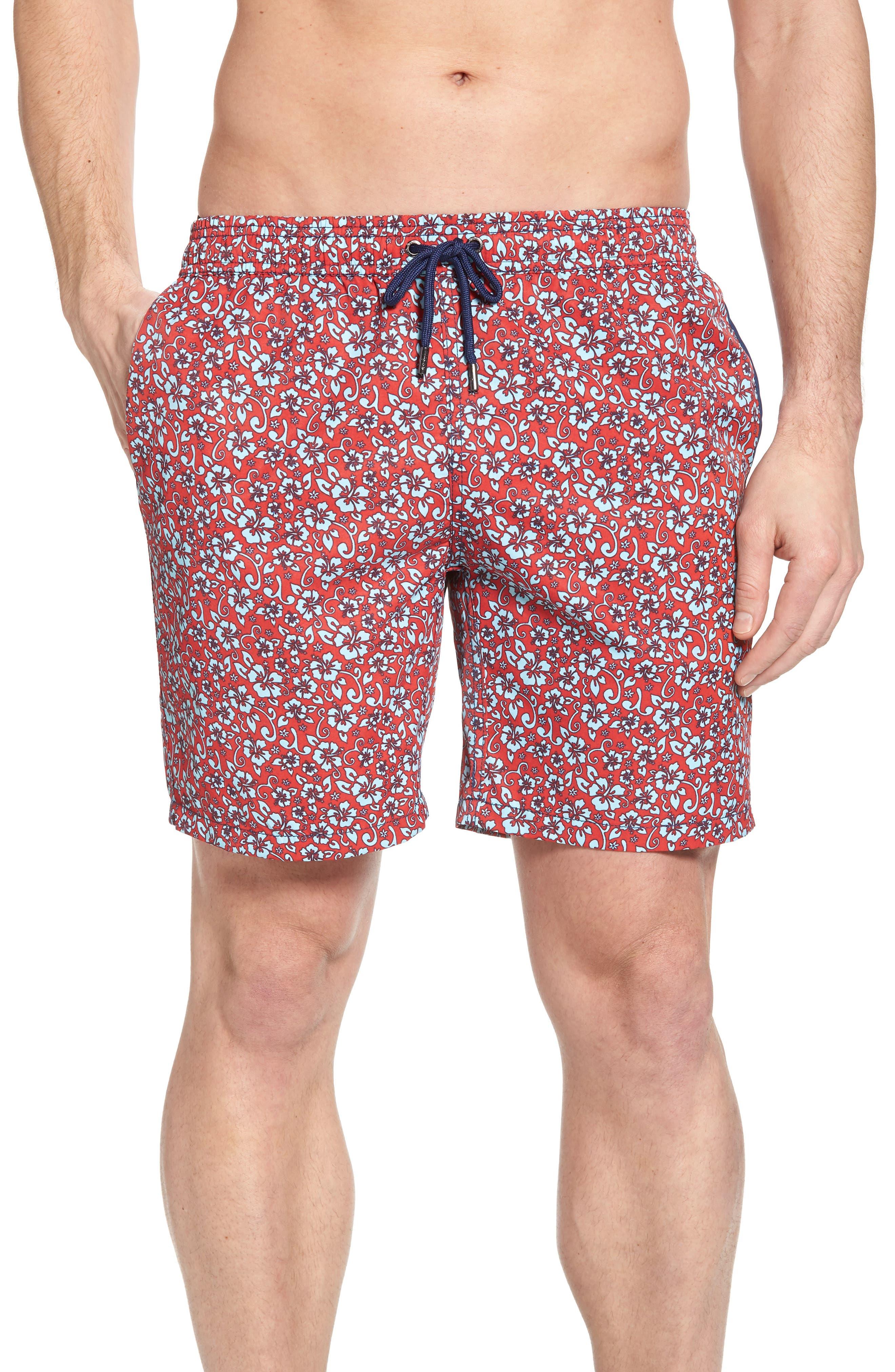 Mr. Swim Trim Fit Floral Swim Trunks,                         Main,                         color, Red