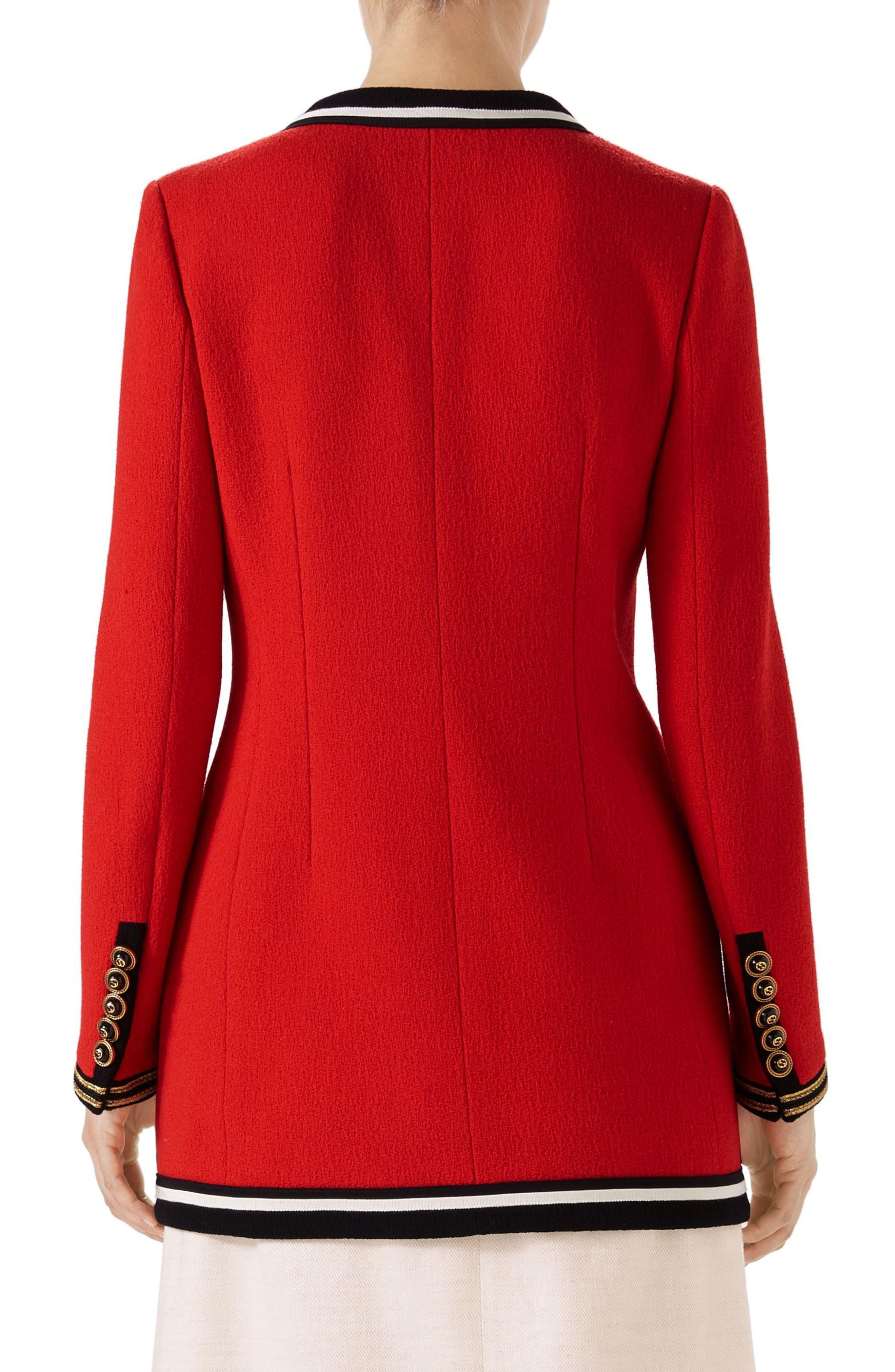Wool Sable Long Jacket,                             Alternate thumbnail 2, color,                             Renaissance Red/ Multicolor