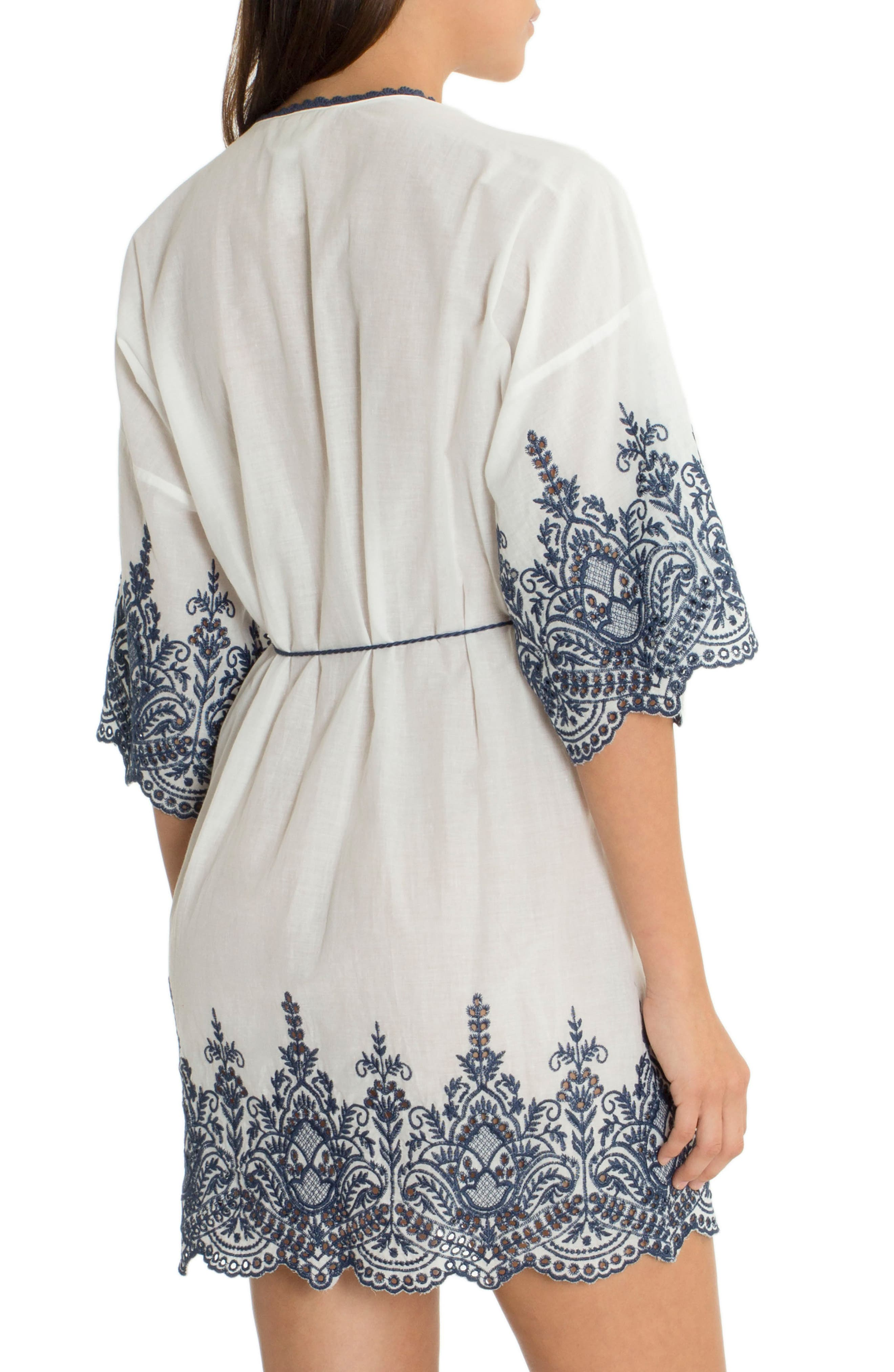 Embroidered Wrap,                             Alternate thumbnail 2, color,                             Ivory/ Navy