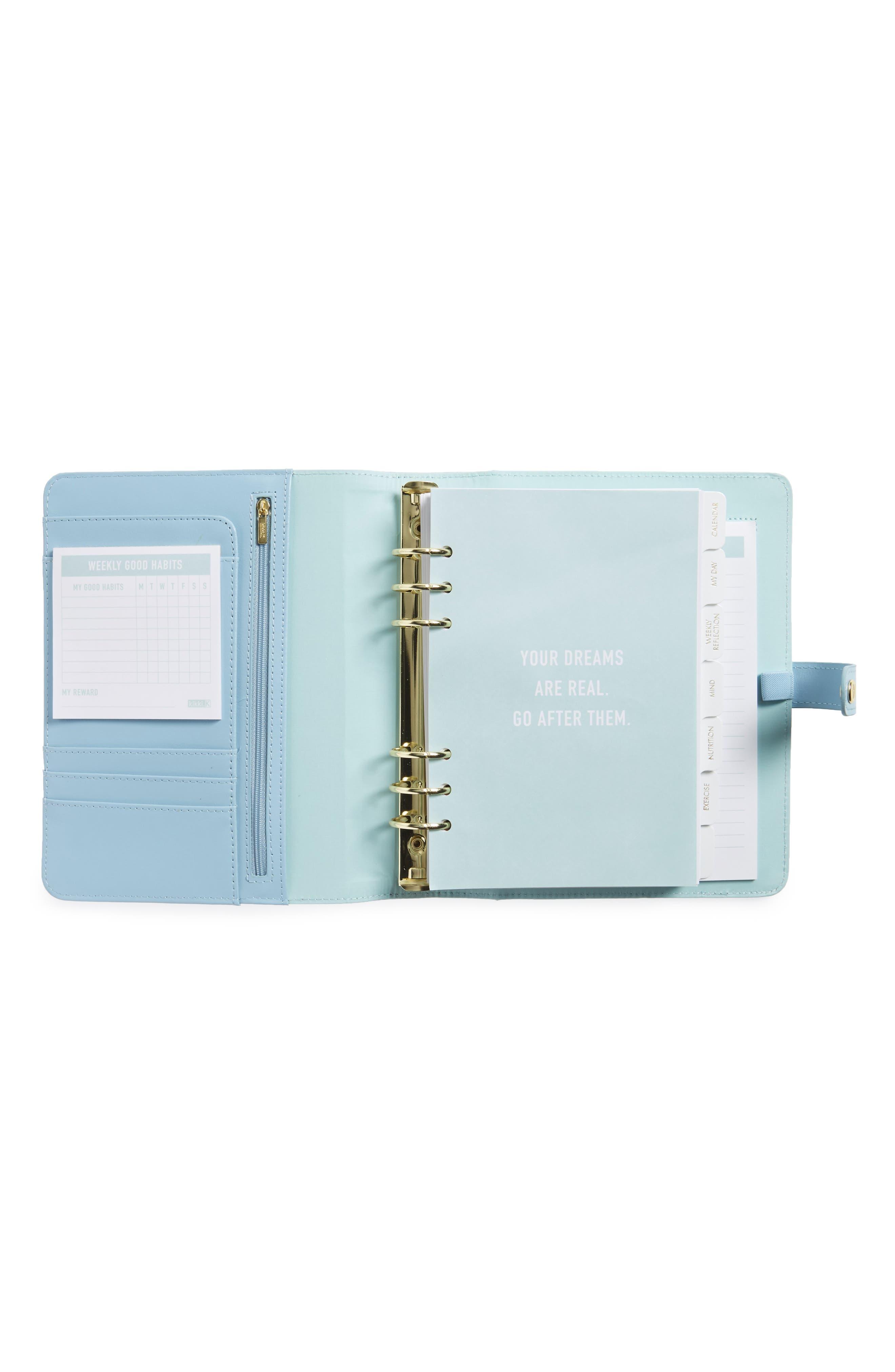 Large Leather Wellness Planner,                             Alternate thumbnail 2, color,                             Light Blue/ Gold