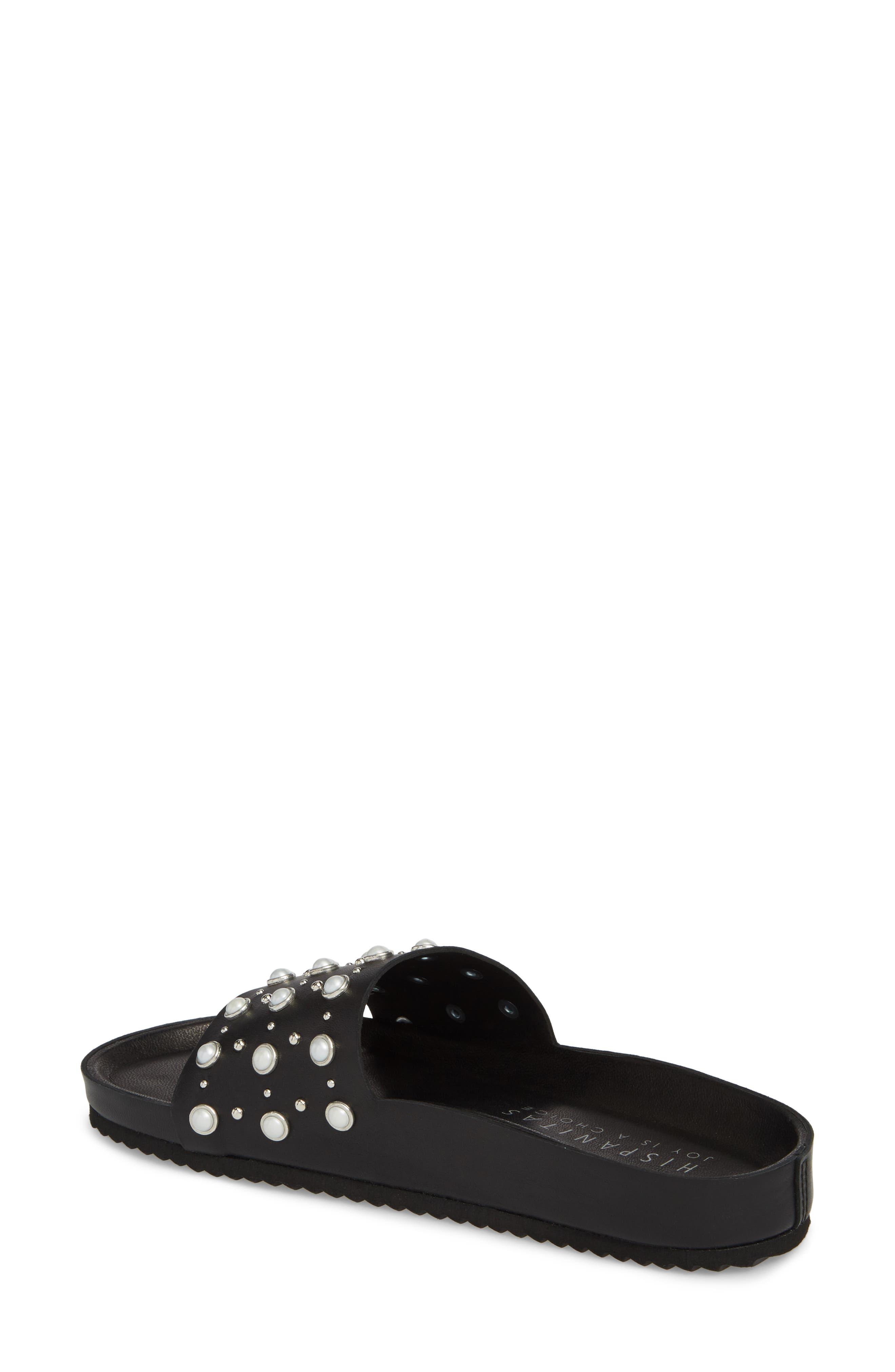 Santori Slide Sandal,                             Alternate thumbnail 2, color,                             Napa Black Leather
