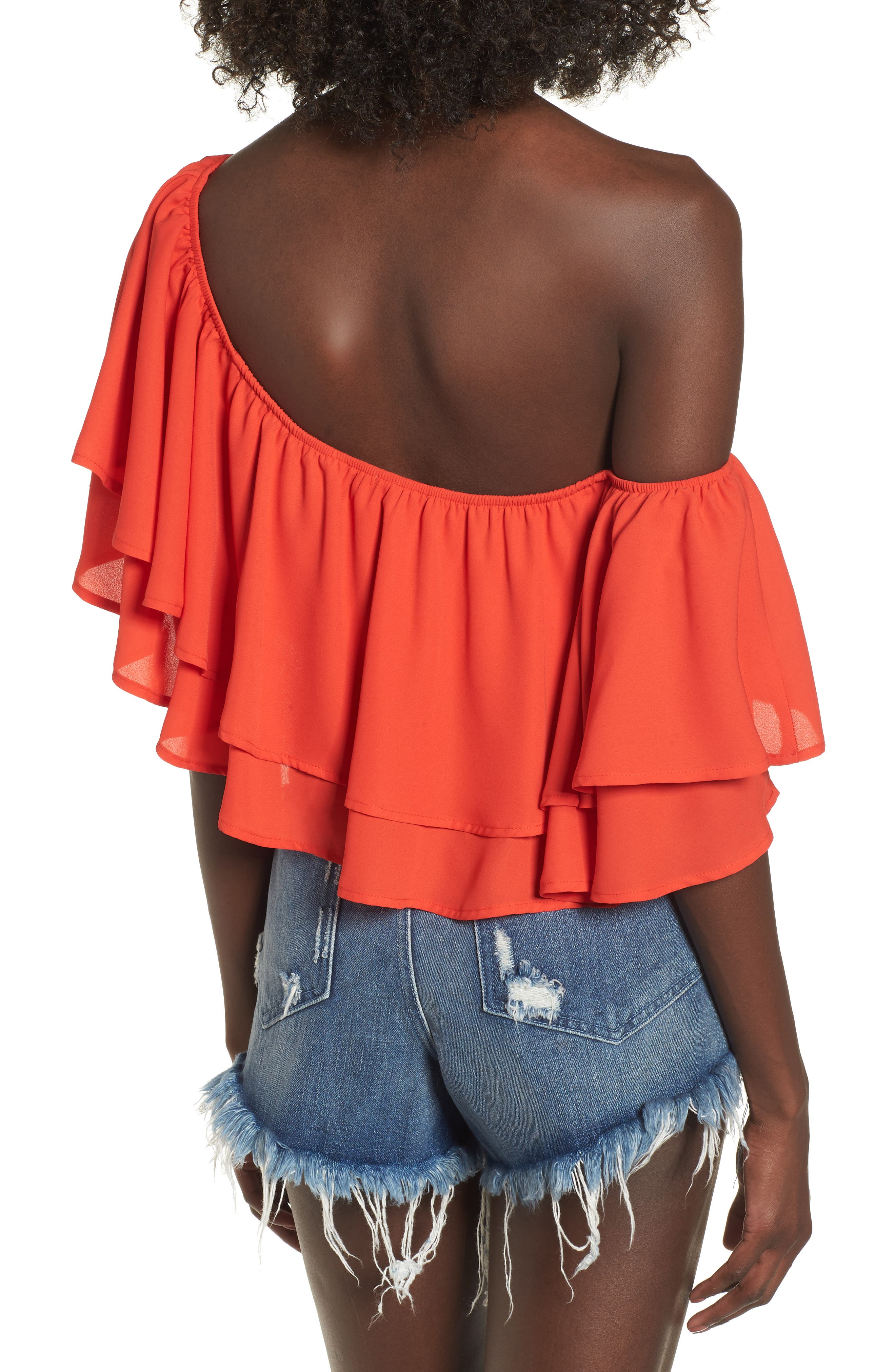 Hayworth Asymmetrical Ruffle Crop Top,                             Alternate thumbnail 2, color,                             Tequila Sunrise