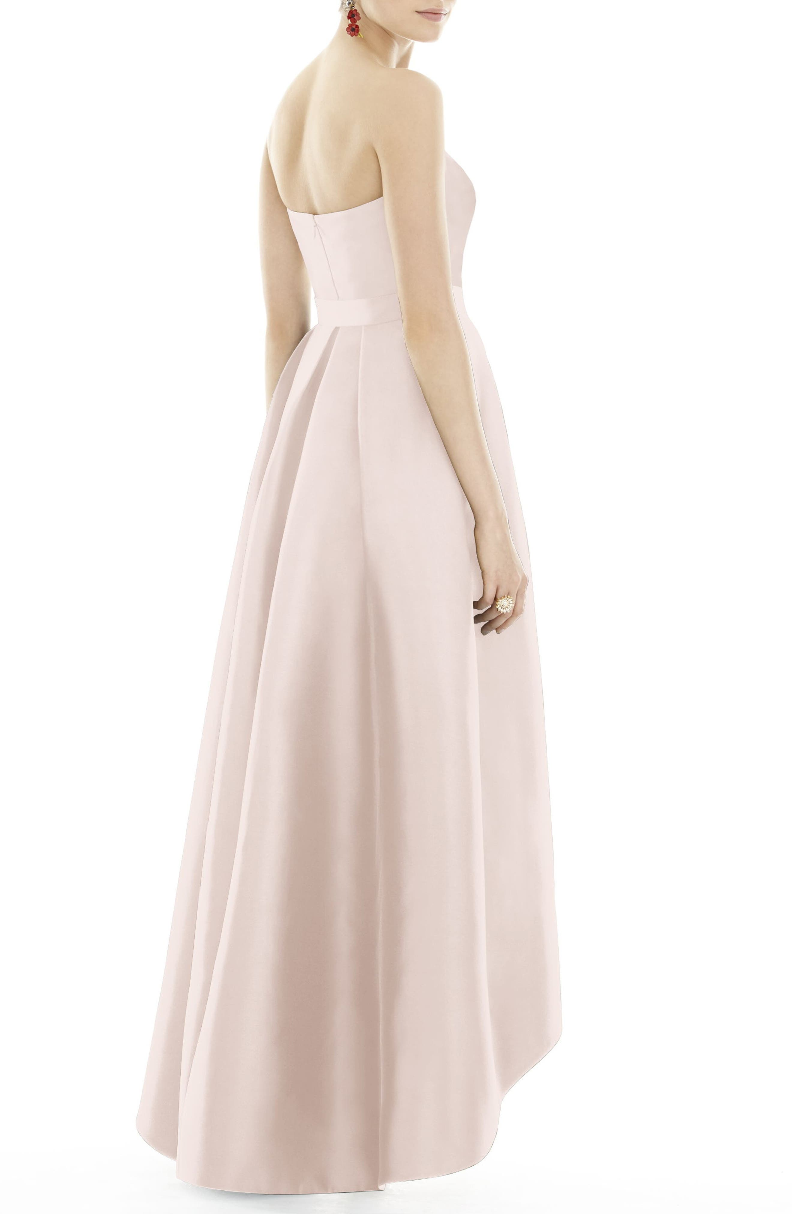 Strapless High/Low Sateen Twill Gown,                             Alternate thumbnail 2, color,                             Blush