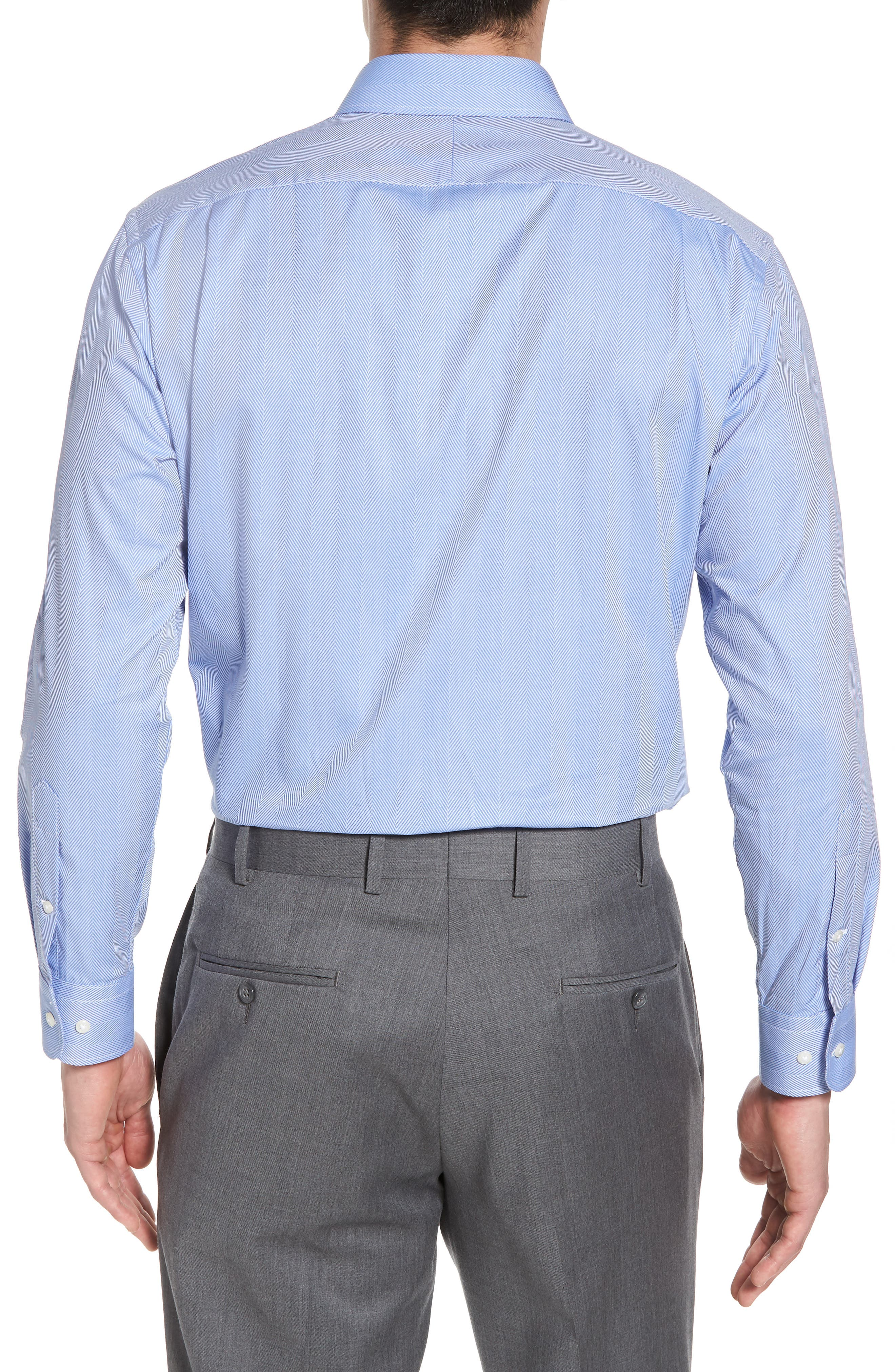 Trim Fit Herringbone Dress Shirt,                             Alternate thumbnail 3, color,                             Blue Provence