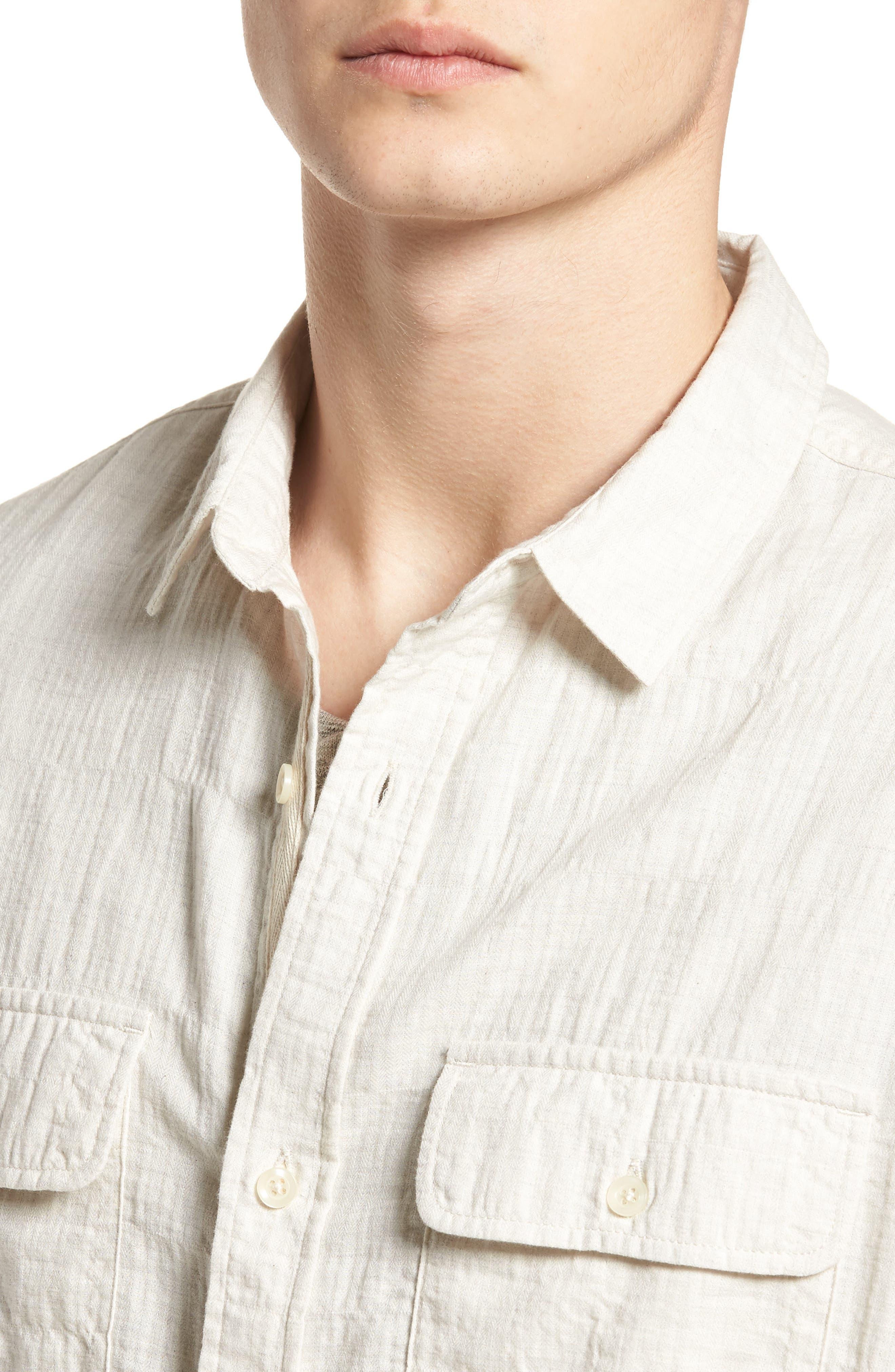 Herringbone Longline Shirt,                             Alternate thumbnail 5, color,                             Ivory Egret Herringbone