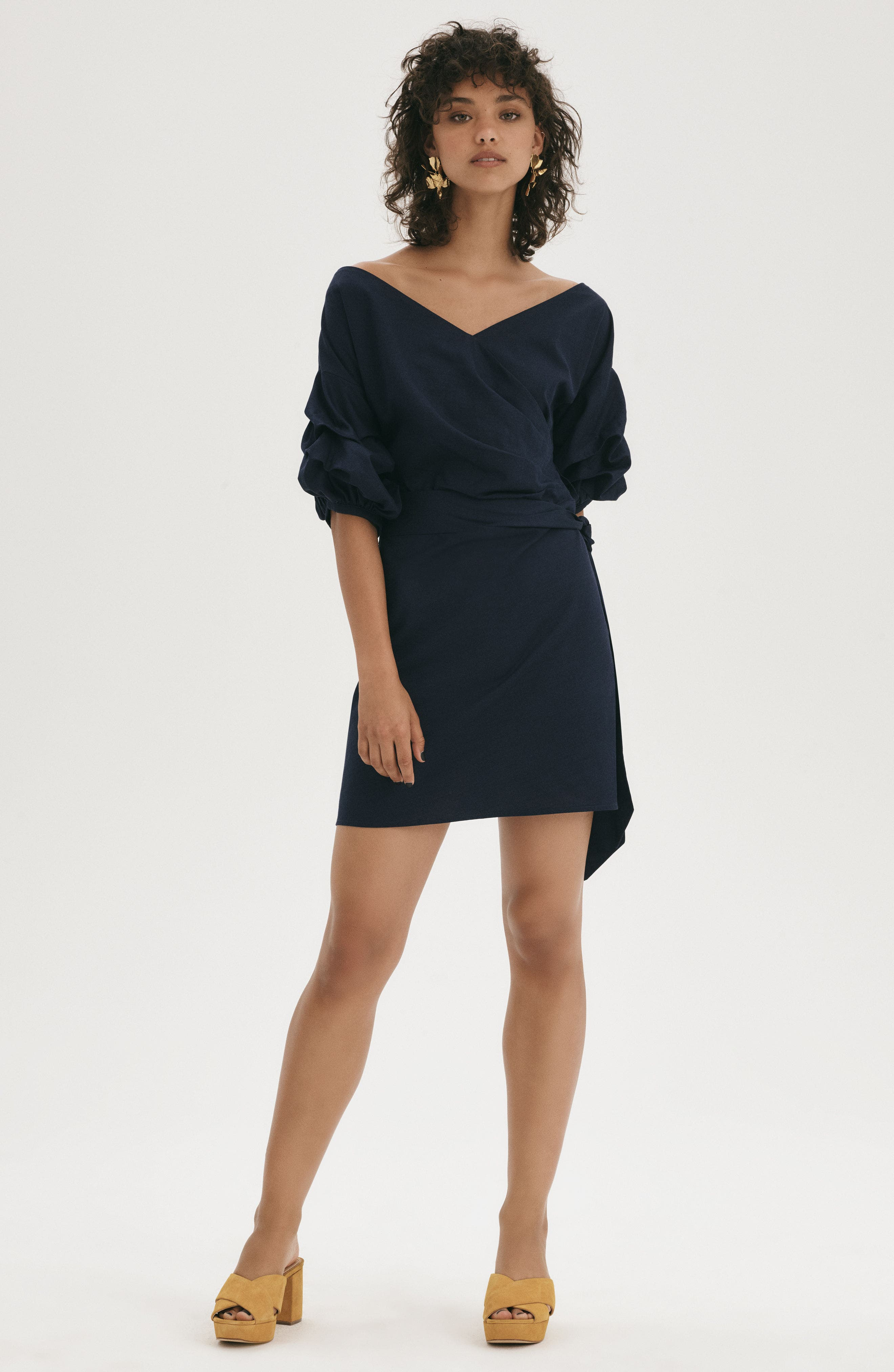 Billow Sleeve Dress,                             Alternate thumbnail 2, color,                             Navy Sapphire