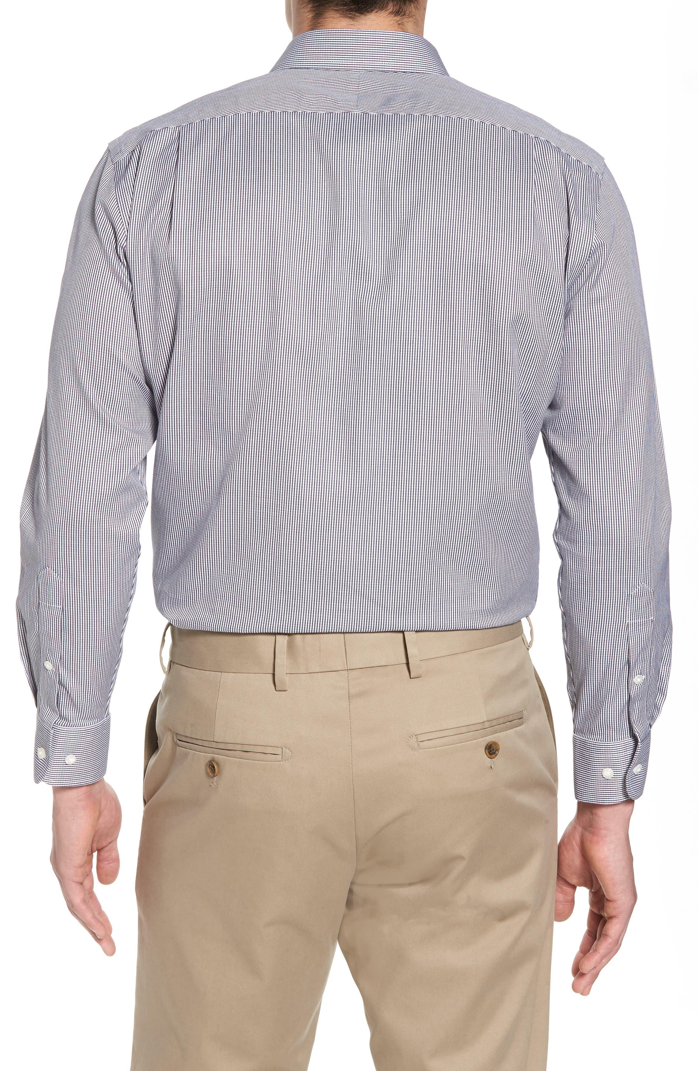 Smartcare<sup>™</sup> Trim Fit Stripe Dress Shirt,                             Alternate thumbnail 3, color,                             Black Rock