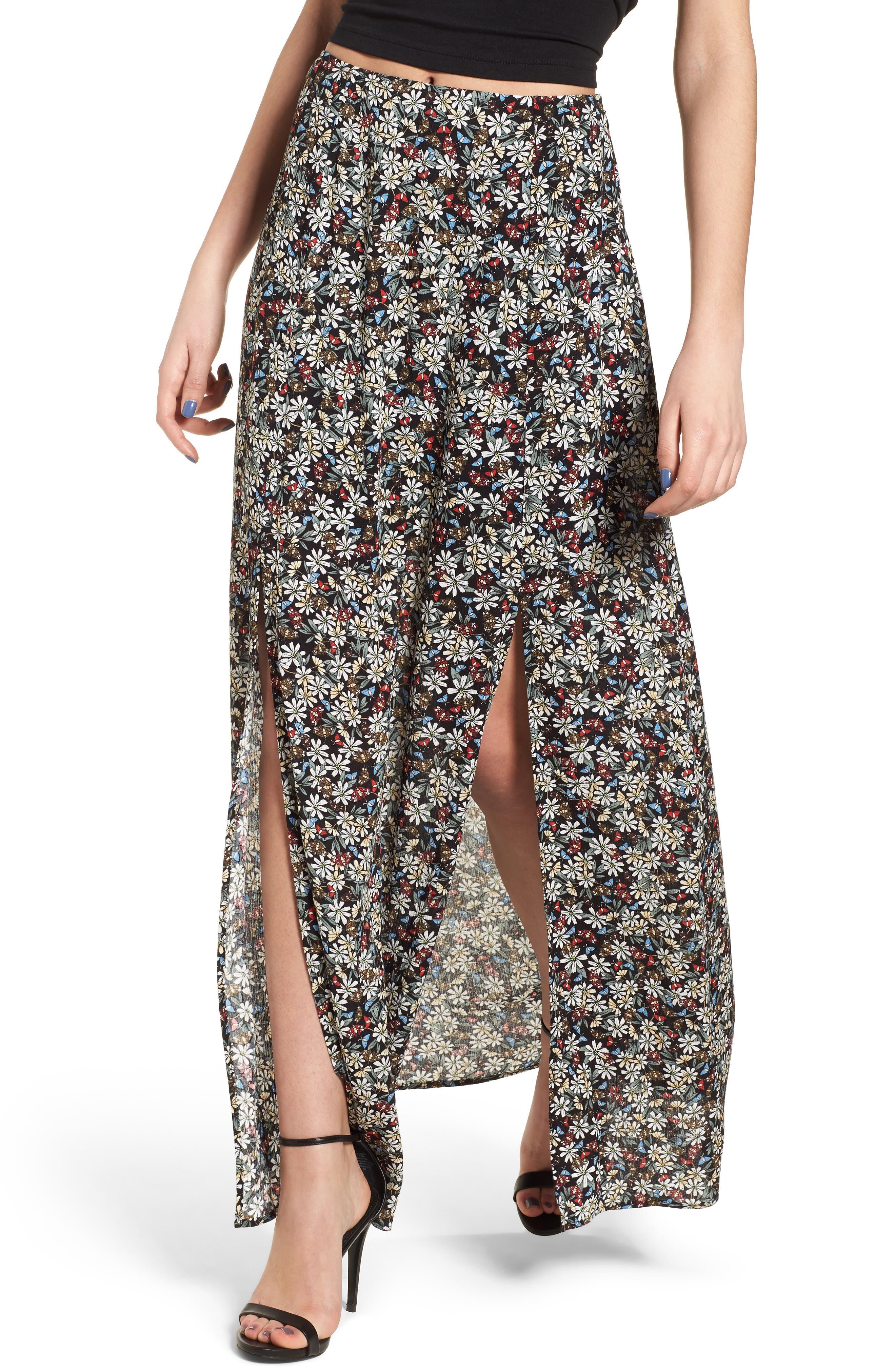 Flora Slit Front Maxi Skirt,                             Main thumbnail 1, color,                             Multi Black