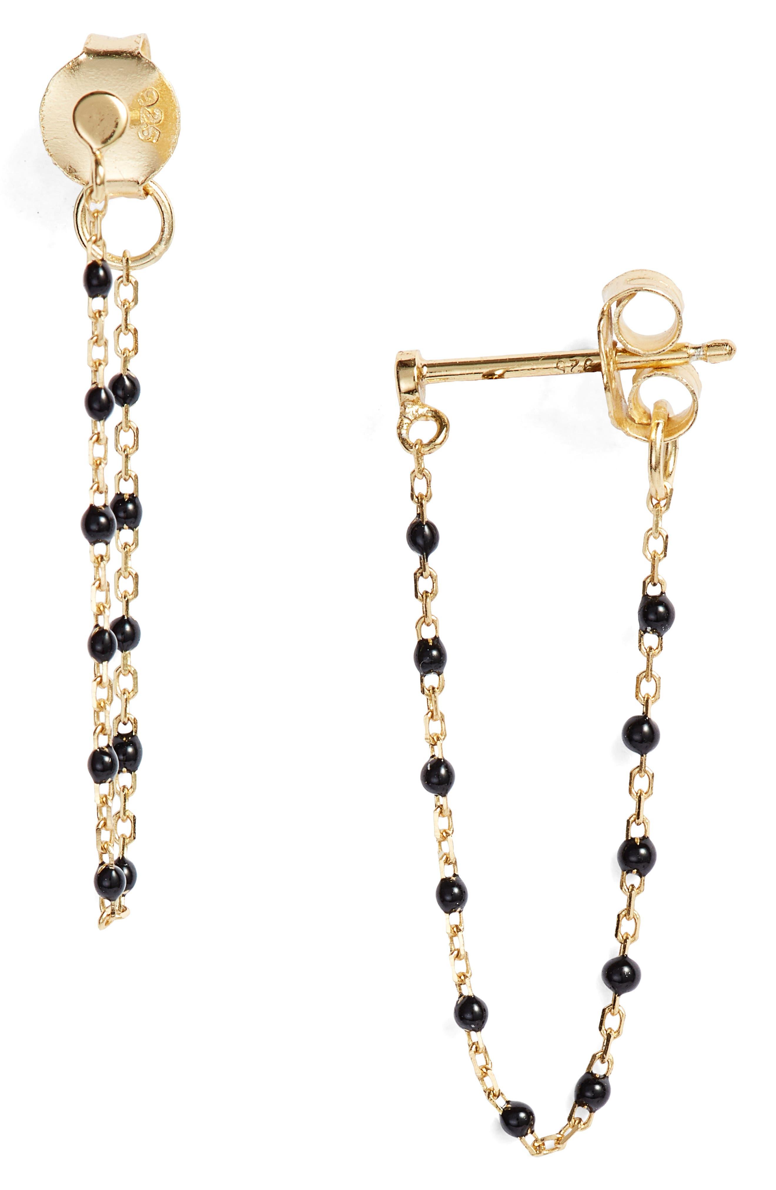 Chain Bead Drop Earrings,                         Main,                         color, Gold/ Black