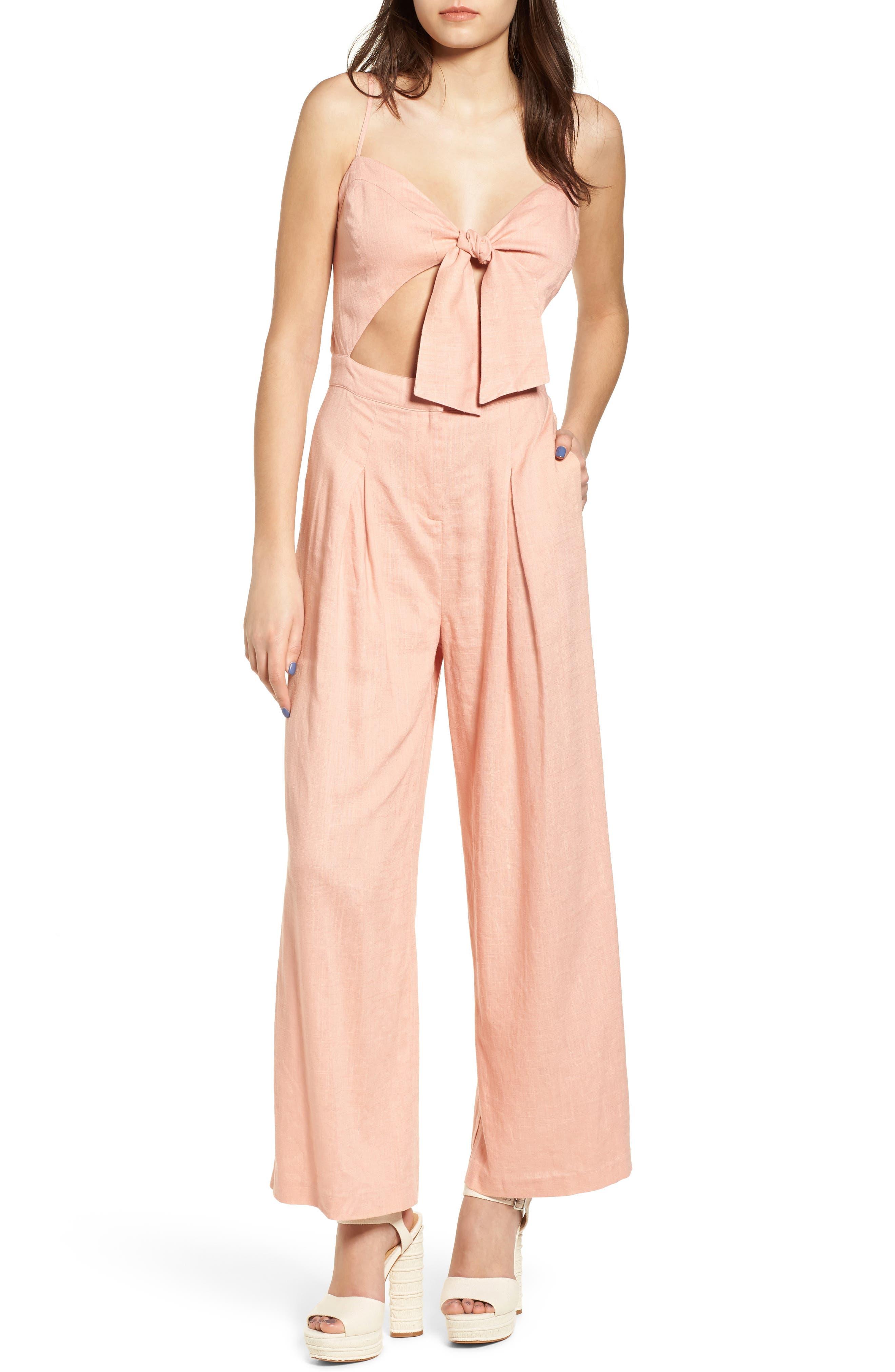 Tie Front Cutout Jumpsuit,                         Main,                         color, Peach